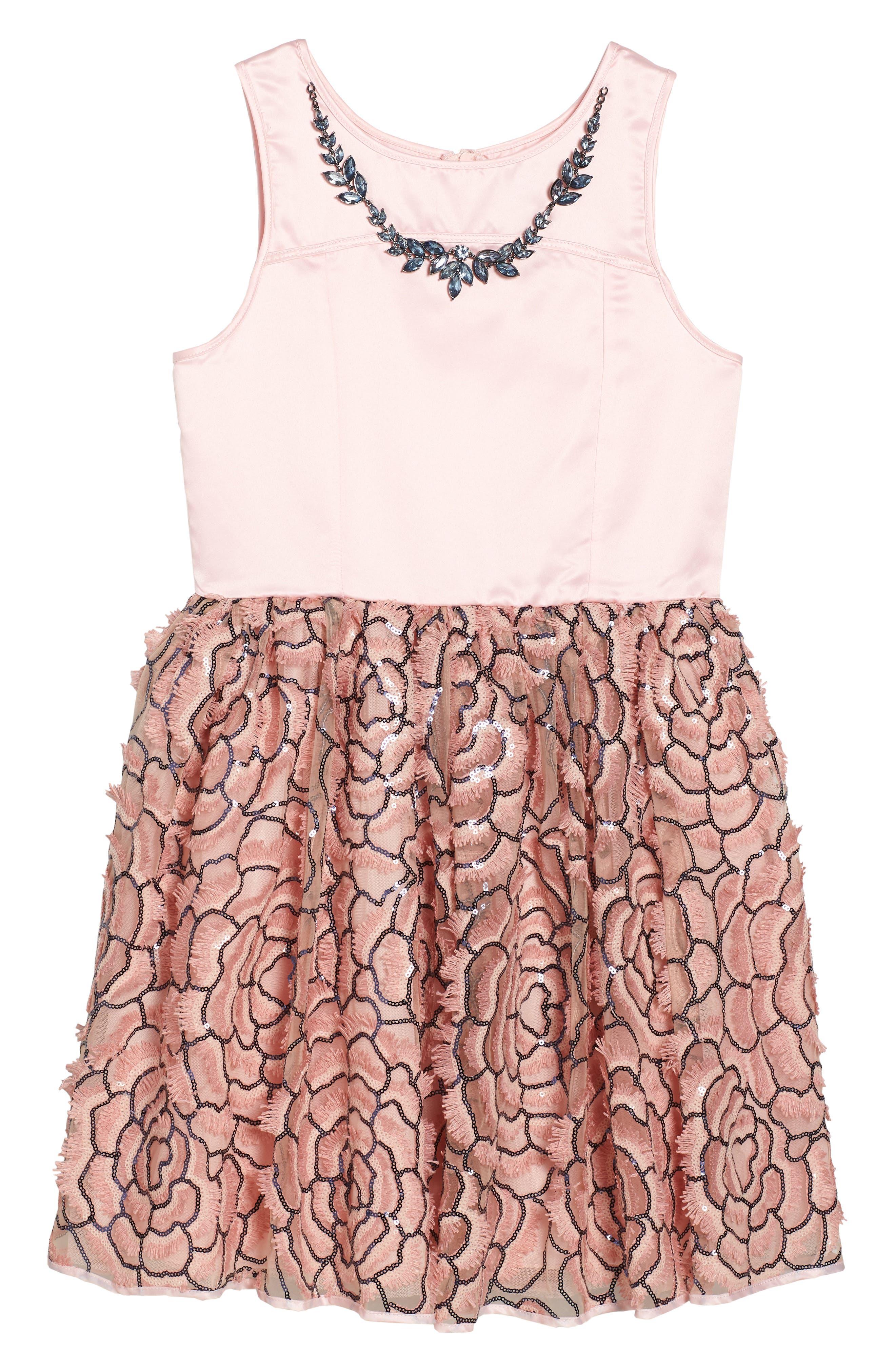 Sequin Mesh & Satin Dress,                         Main,                         color, Pink
