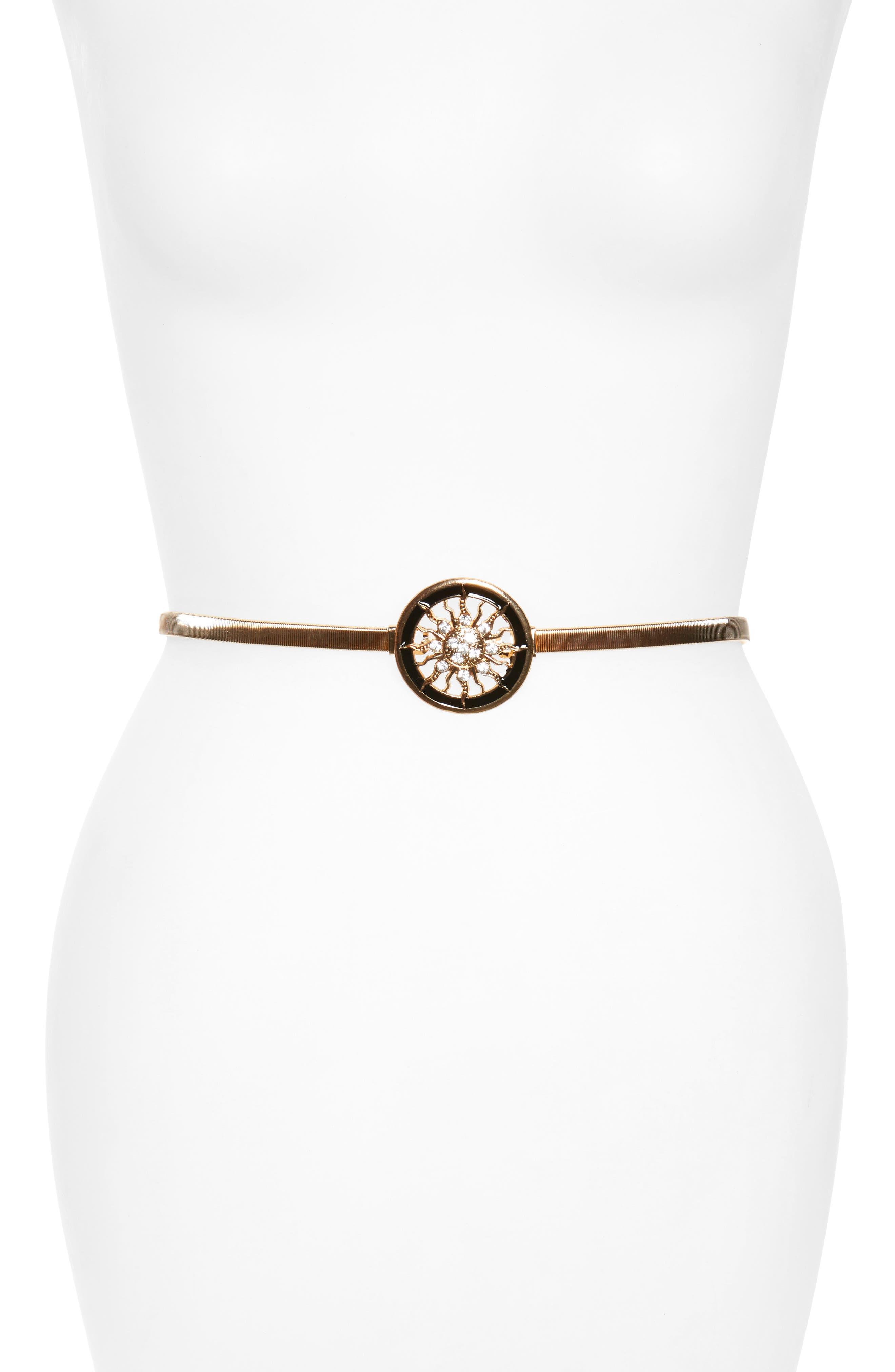 Crystal Sun Medallion Stretch Belt,                         Main,                         color, Gold/ Black