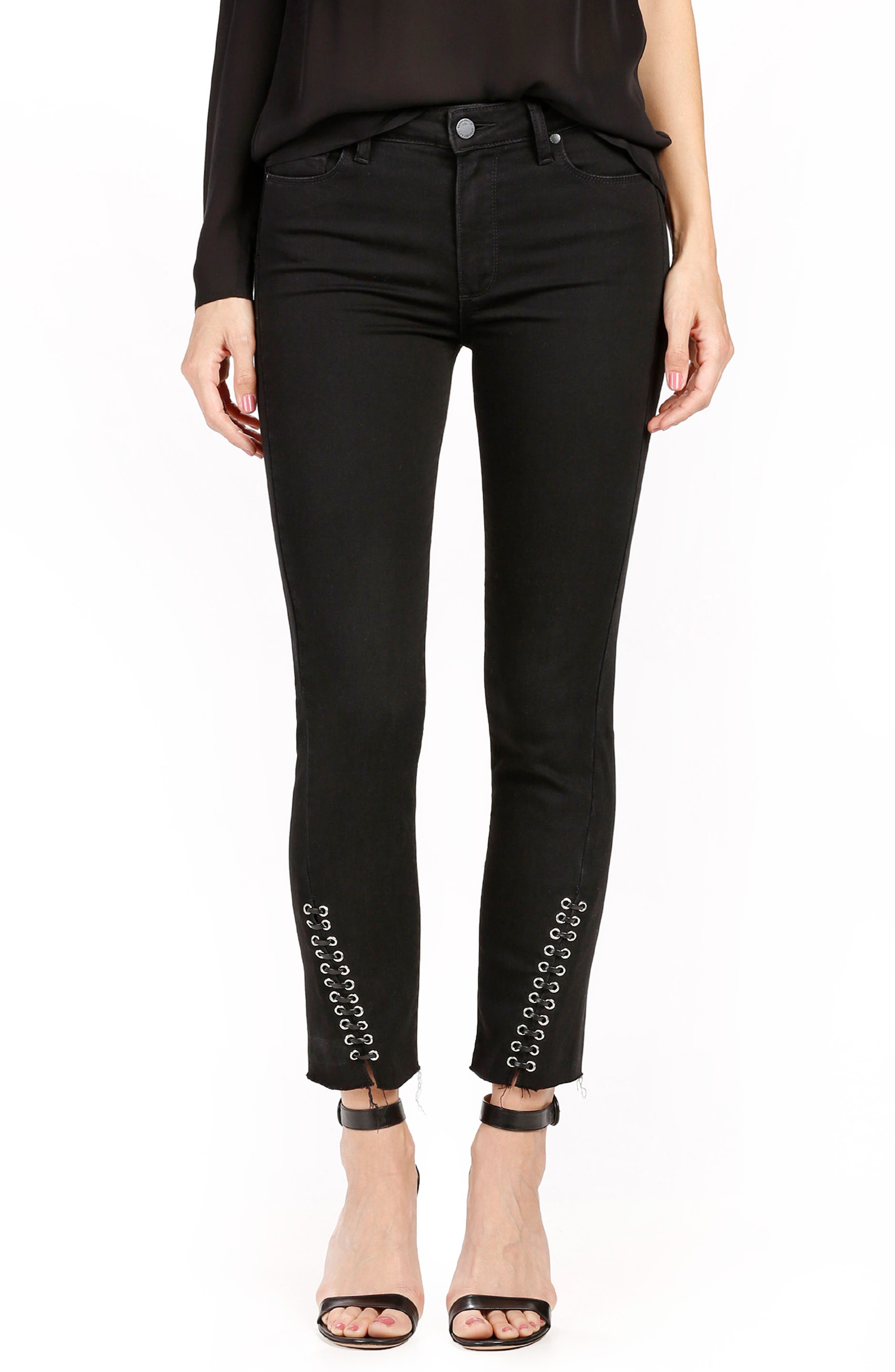 Alternate Image 1 Selected - PAIGE Jacqueline High Waist Ankle Straight Leg Jeans (Onyx)