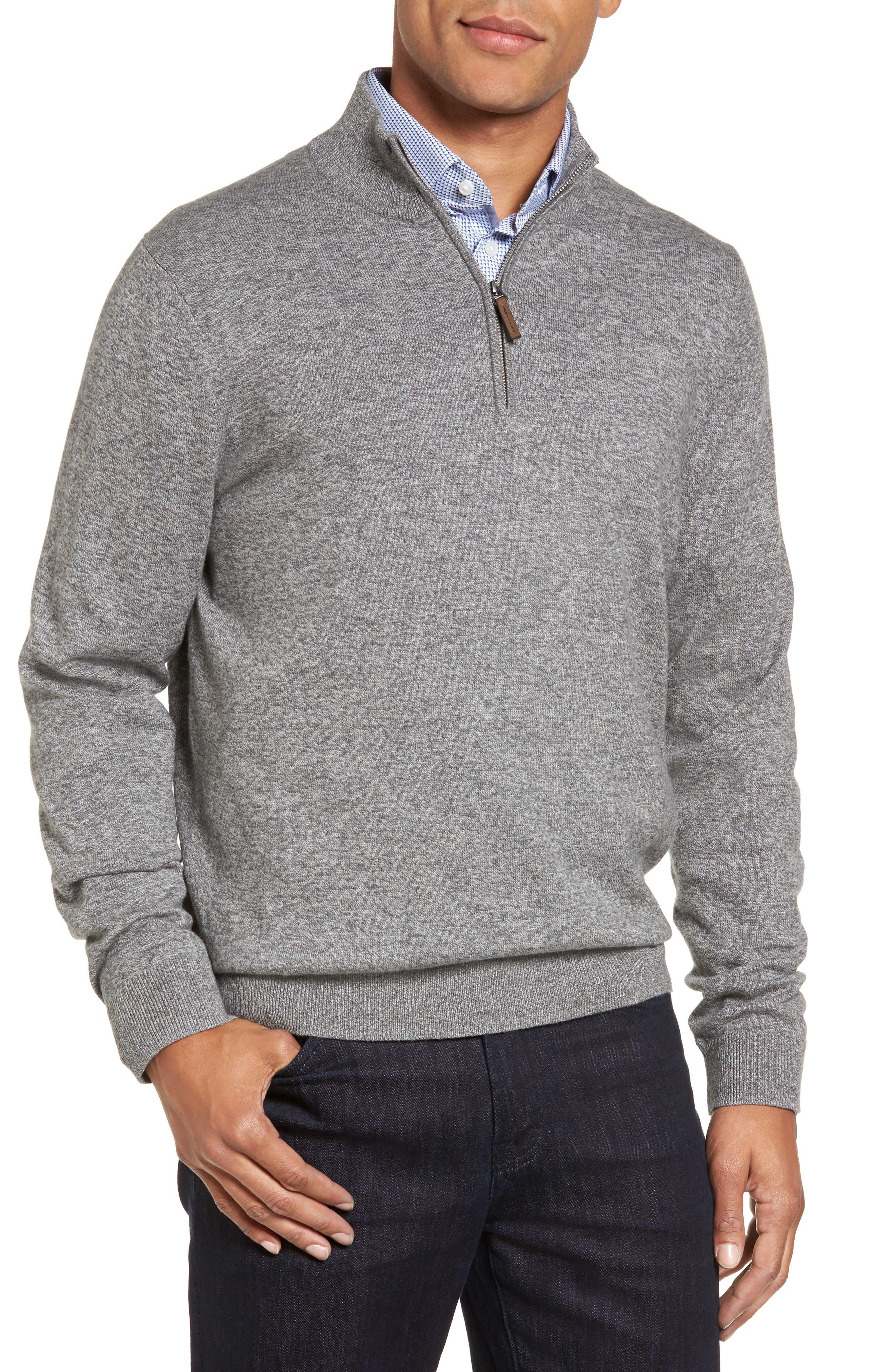 Main Image - Nordstrom Men's Shop Quarter Zip Sweater (Big)
