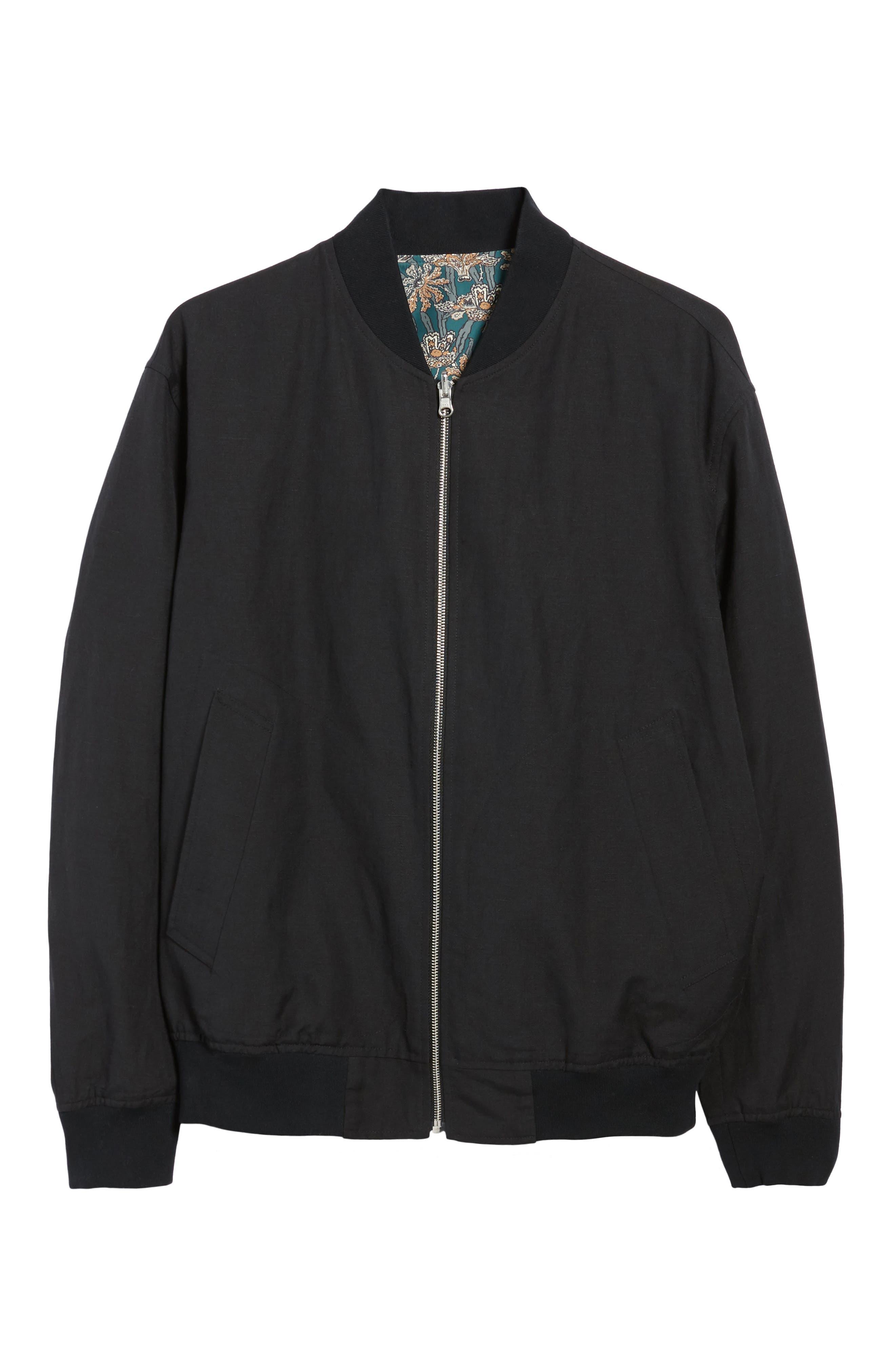 Basma Reversible Bomber Jacket,                             Alternate thumbnail 6, color,                             Black/ Emerald