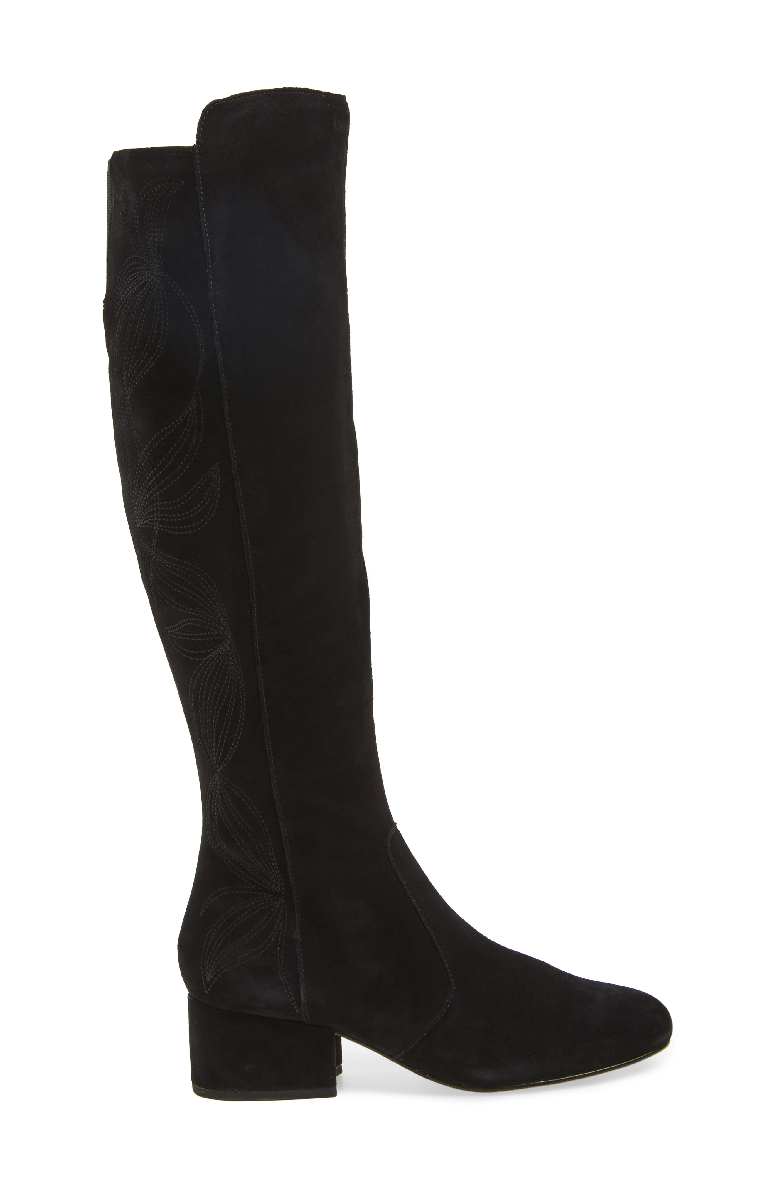 Tawnna Knee High Boot,                             Alternate thumbnail 3, color,                             Black Suede