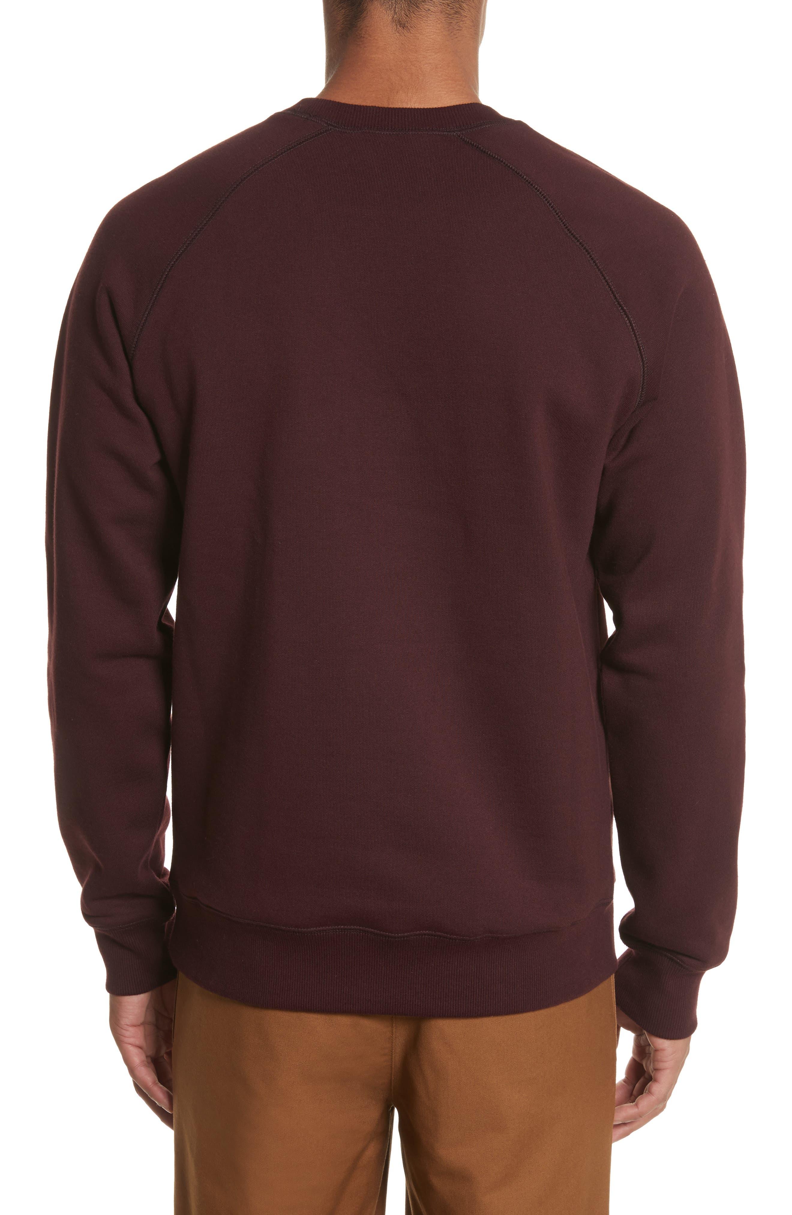 Crewneck Sweatshirt,                             Alternate thumbnail 2, color,                             Damson/ Gold