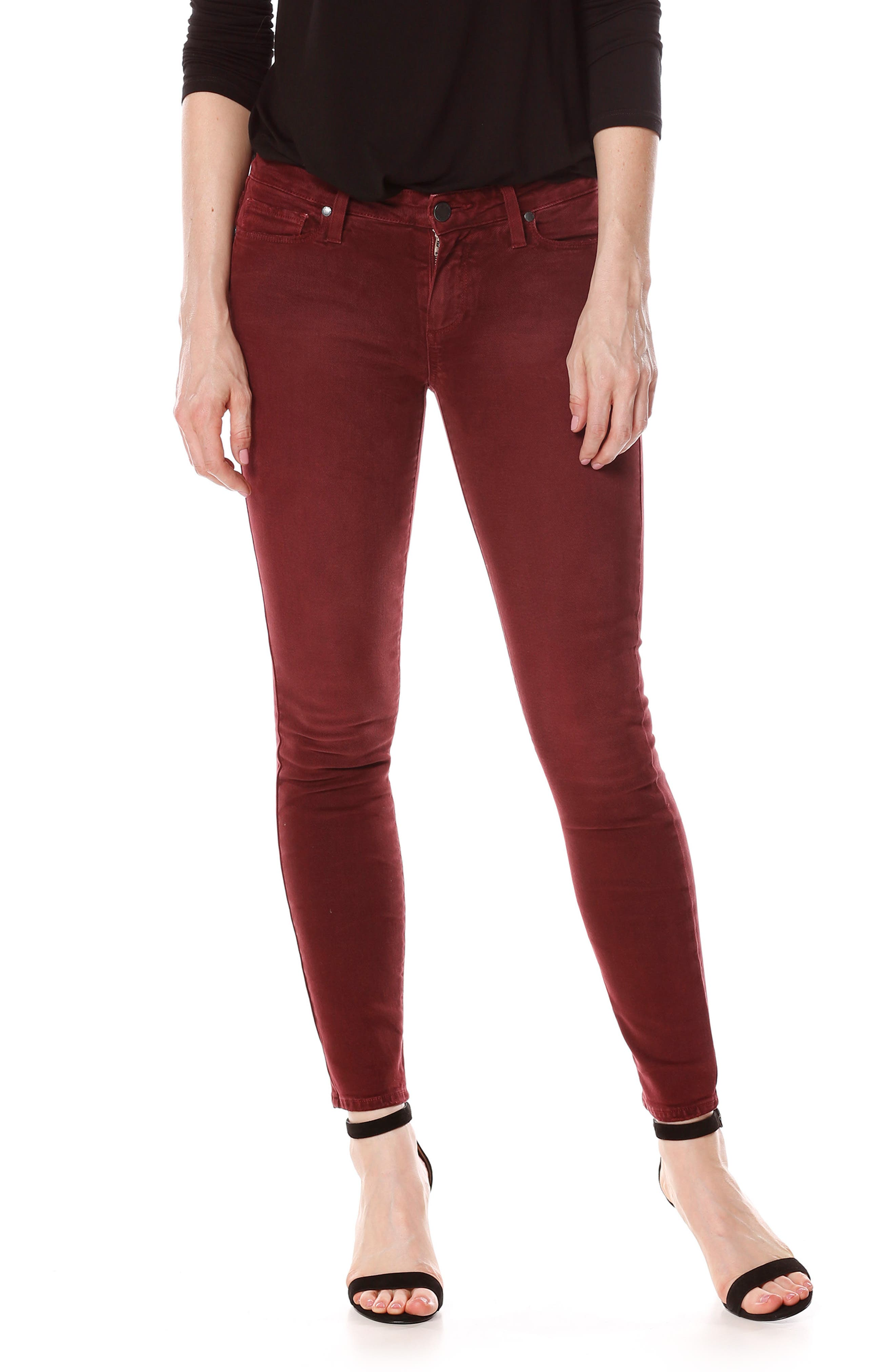 Verdugo Ankle Skinny Jeans,                             Main thumbnail 1, color,                             Vintage Rouge