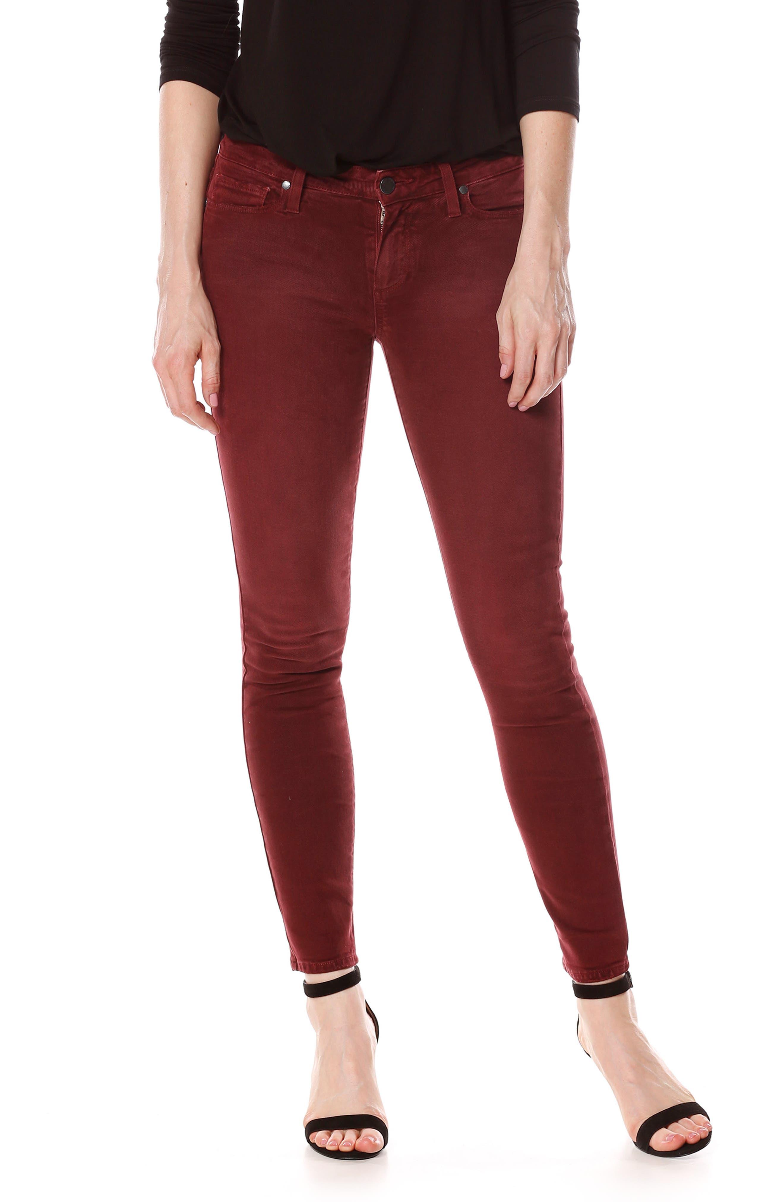 Verdugo Ankle Skinny Jeans,                         Main,                         color, Vintage Rouge