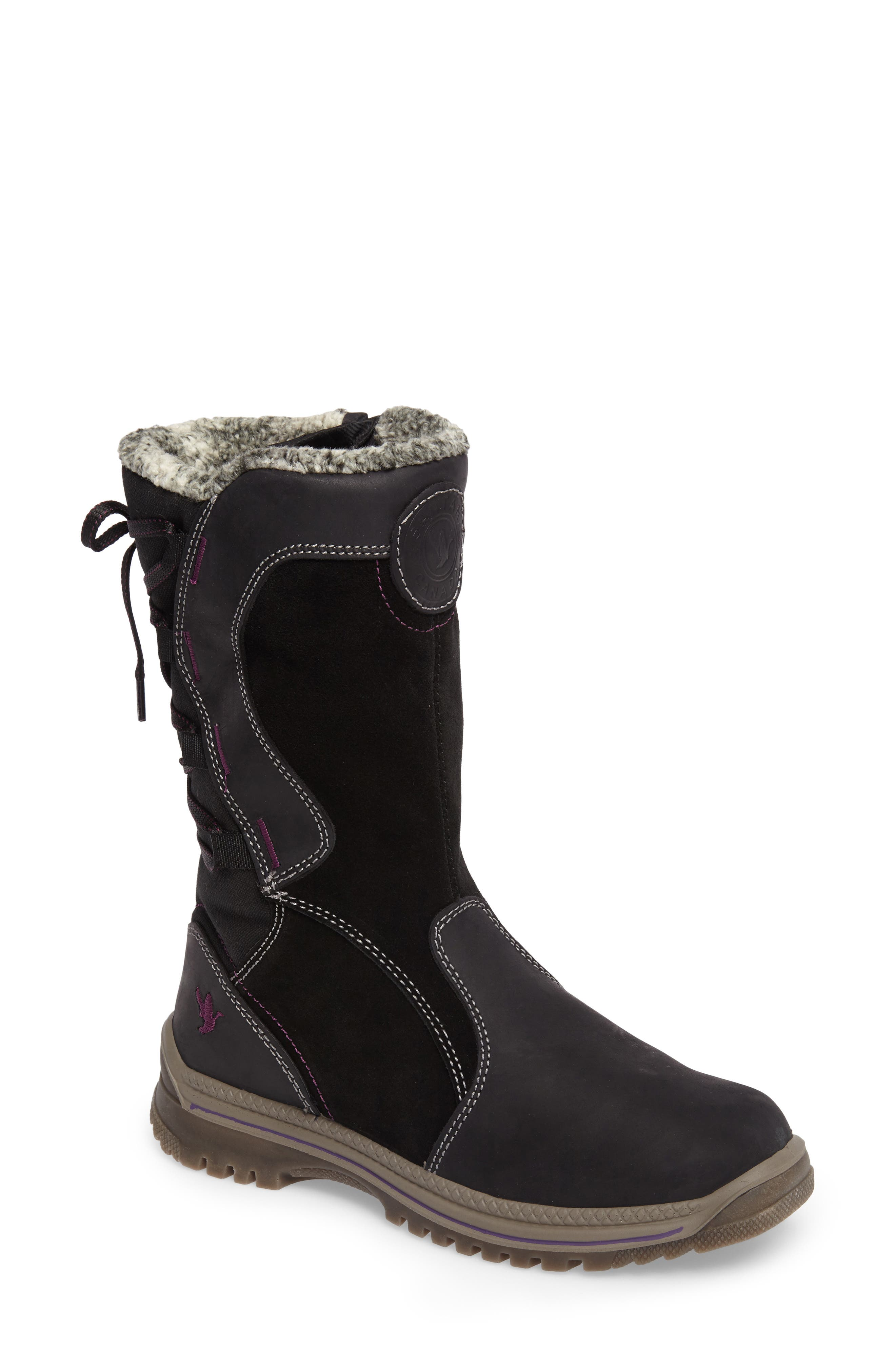 Mayer Faux Fur Lined Waterproof Boot,                             Main thumbnail 1, color,                             Black Leather