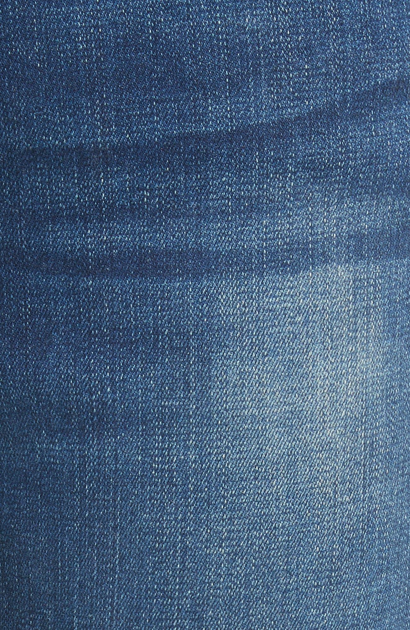Le High Straight High Waist Raw Stagger Jeans,                             Alternate thumbnail 6, color,                             Murrayfield