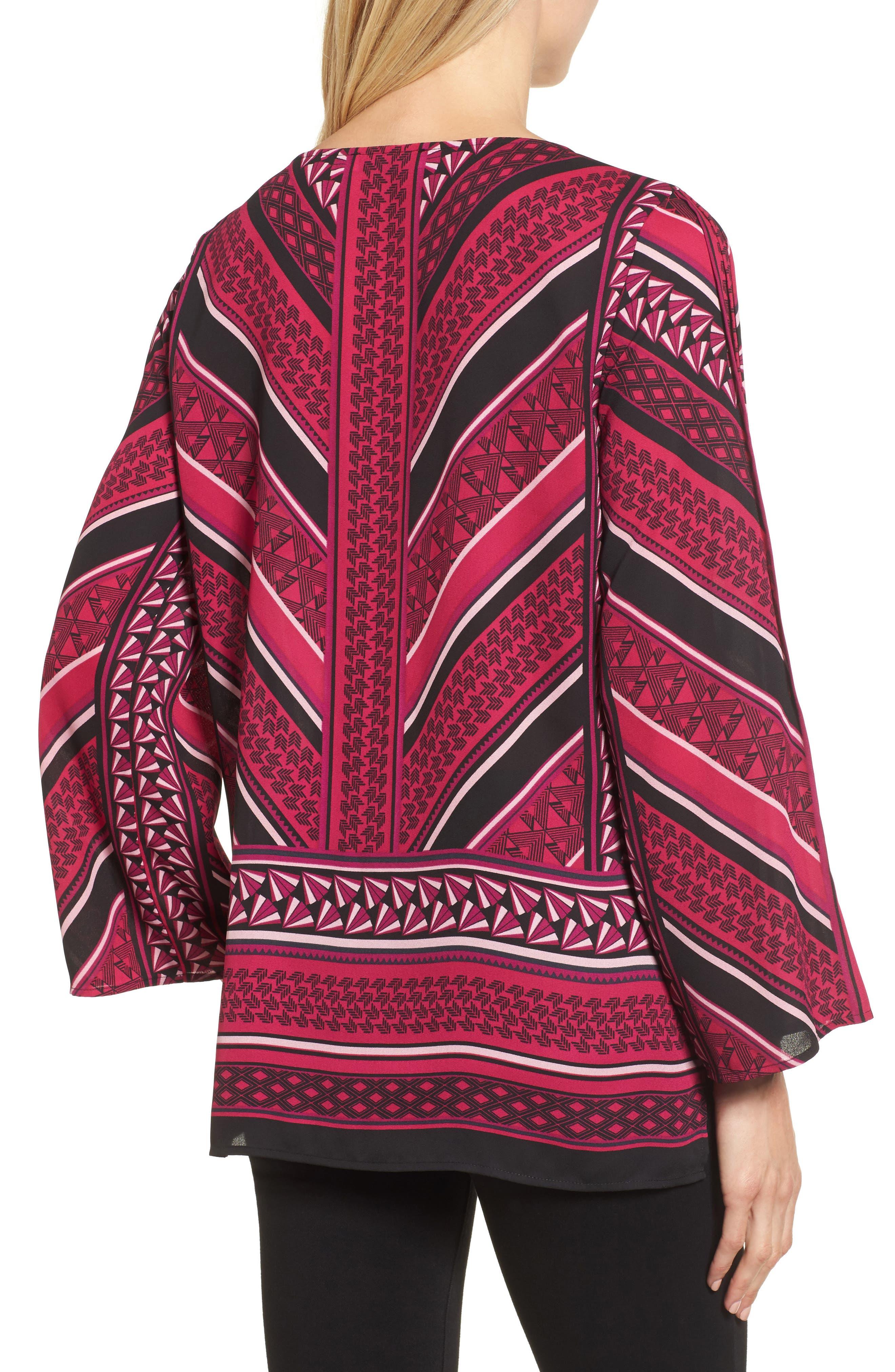 Pleated Sleeve Blouse,                             Alternate thumbnail 2, color,                             Fuchsia