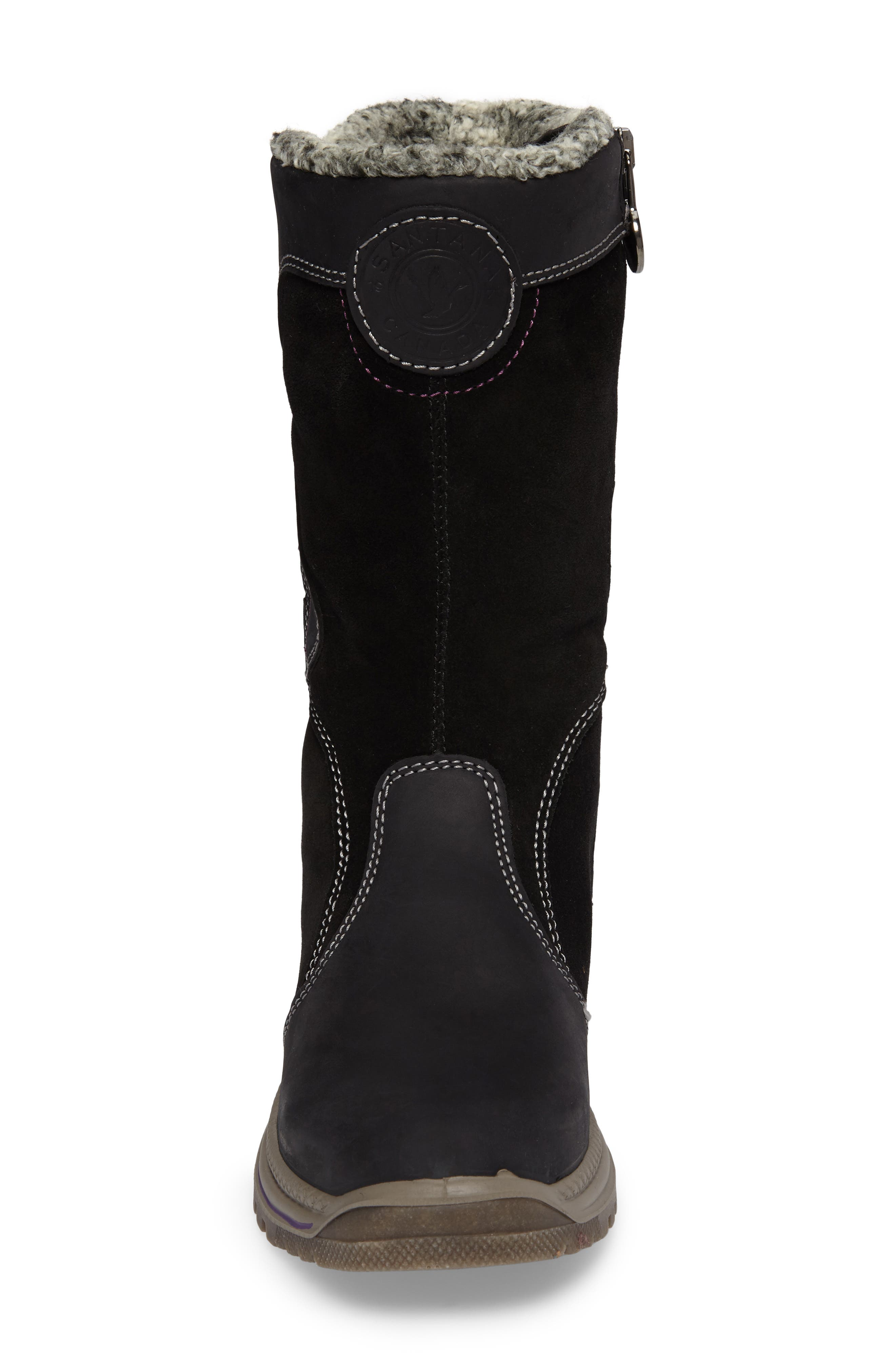Mayer Faux Fur Lined Waterproof Boot,                             Alternate thumbnail 4, color,                             Black Leather