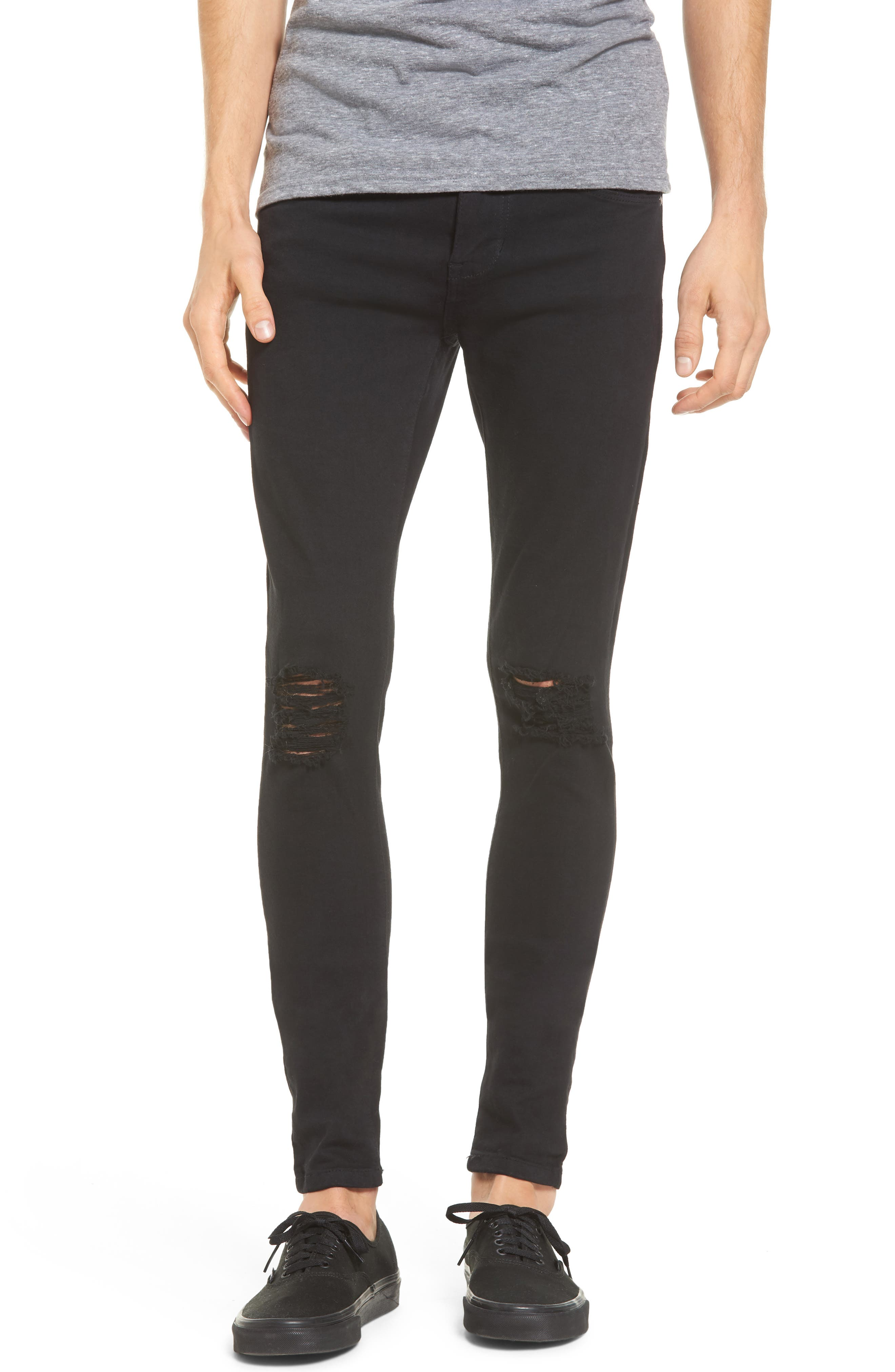 Leroy Slim Fit Jeans,                             Main thumbnail 1, color,                             Black Ripped Knees