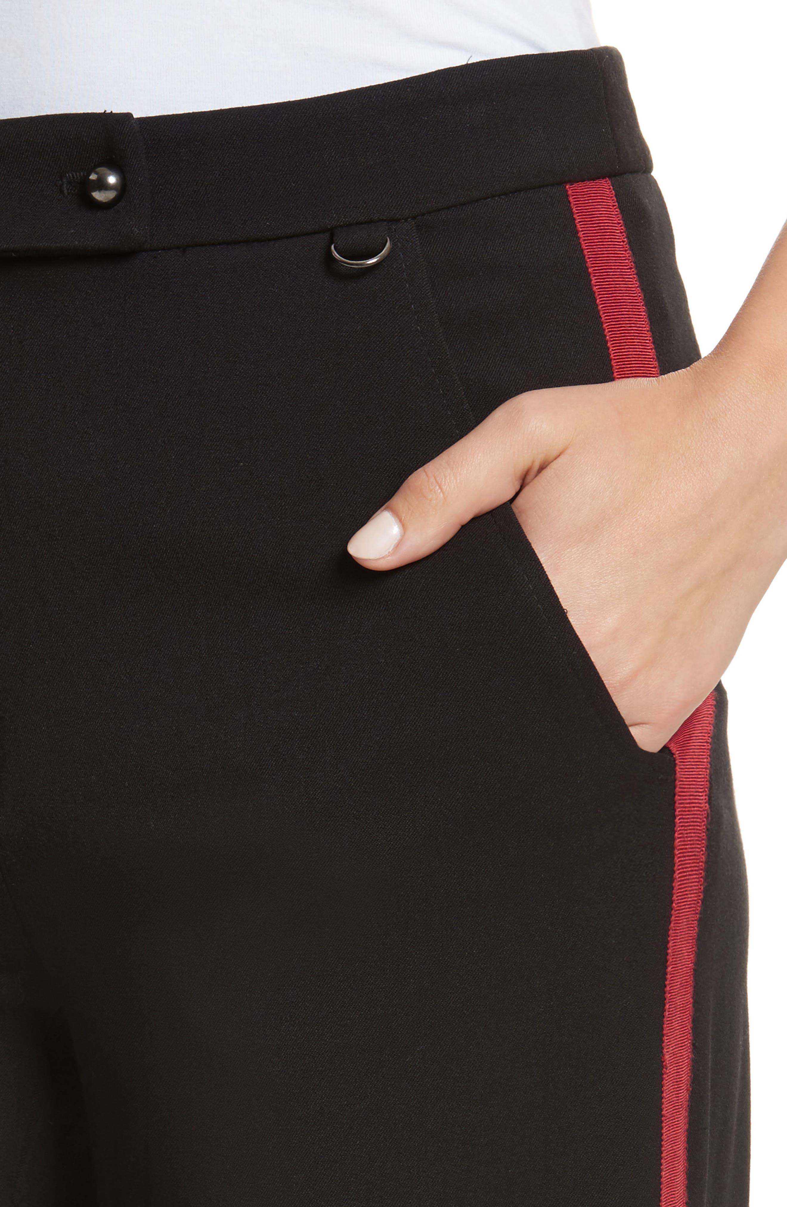Side Vent Wide Leg Pants,                             Alternate thumbnail 4, color,                             Black
