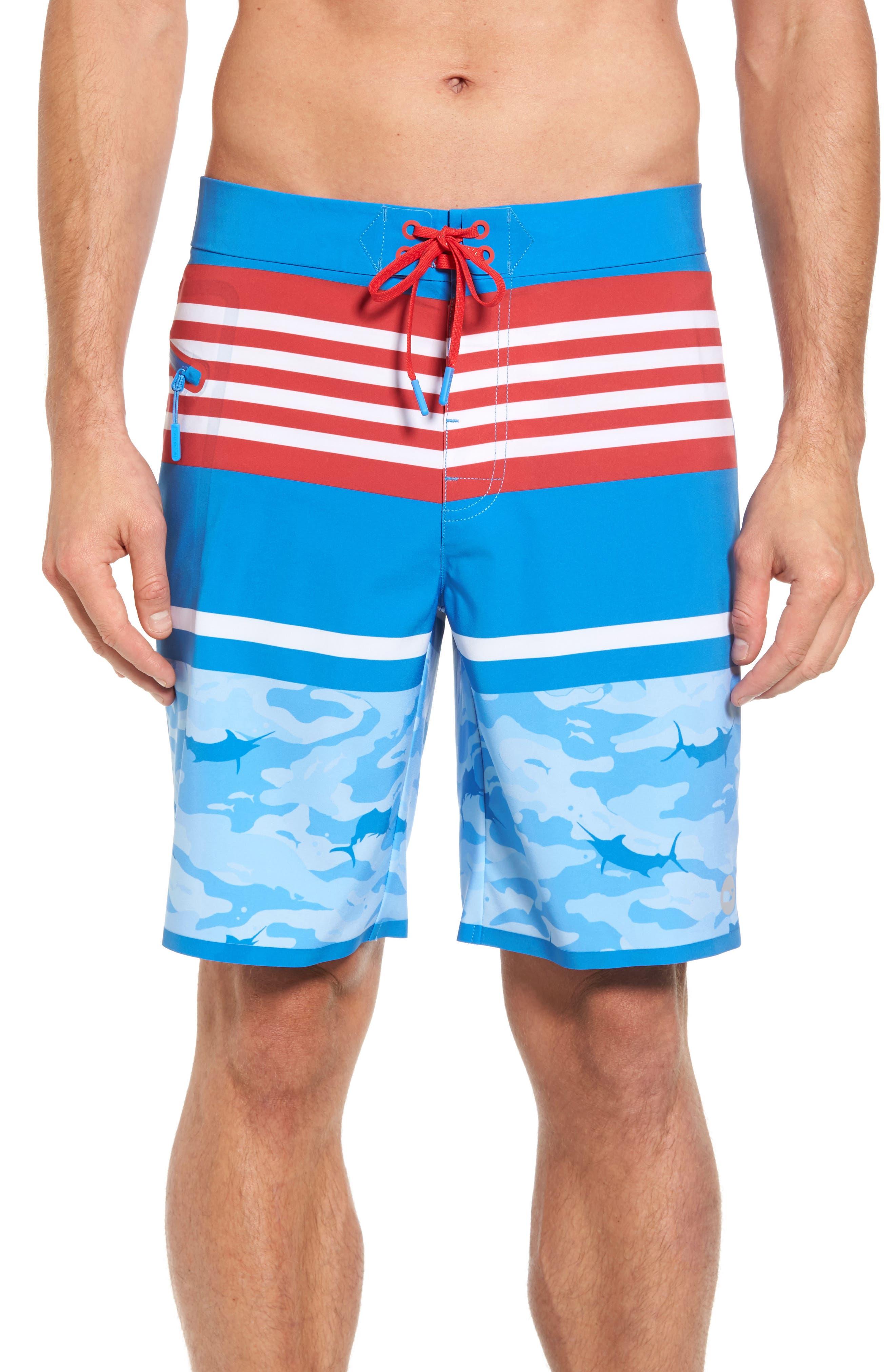 Fish Camo Stripe Board Shorts,                             Main thumbnail 1, color,                             Hull Blue
