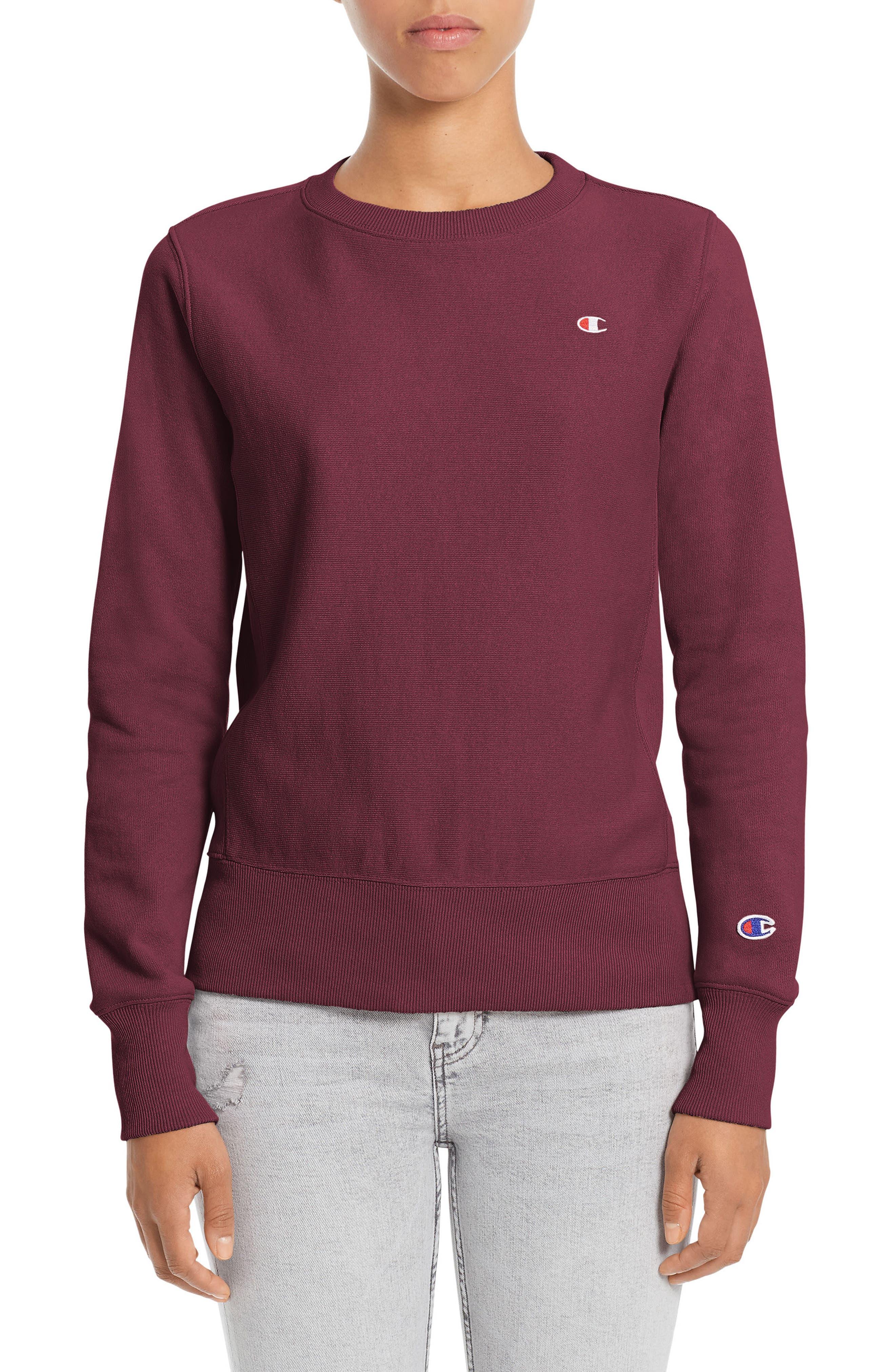Reverse Weave<sup>®</sup> French Terry Crewneck Sweatshirt,                             Main thumbnail 1, color,                             Bordeaux Red