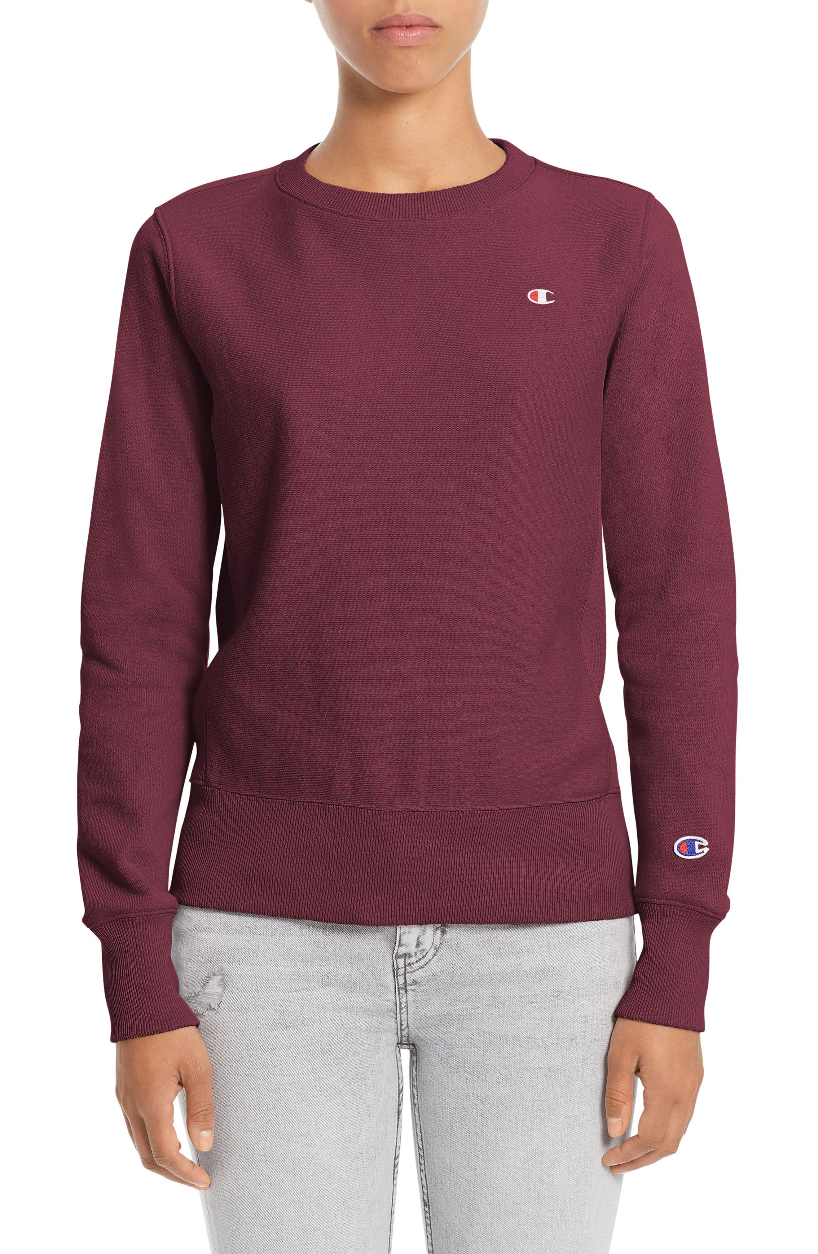 Reverse Weave<sup>®</sup> French Terry Crewneck Sweatshirt,                         Main,                         color, Bordeaux Red