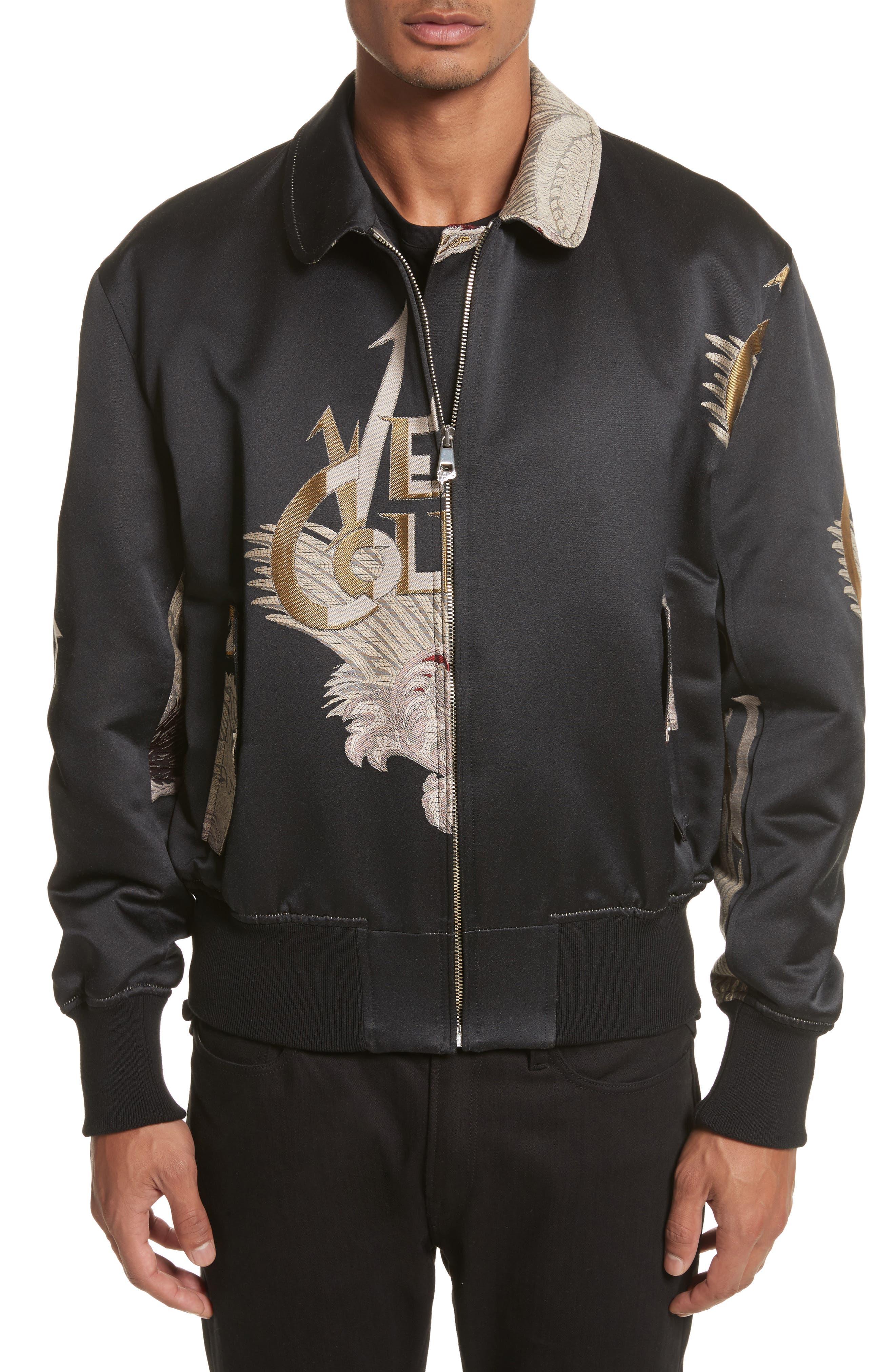 Embroidered Logo Bomber Jacket,                         Main,                         color, Black