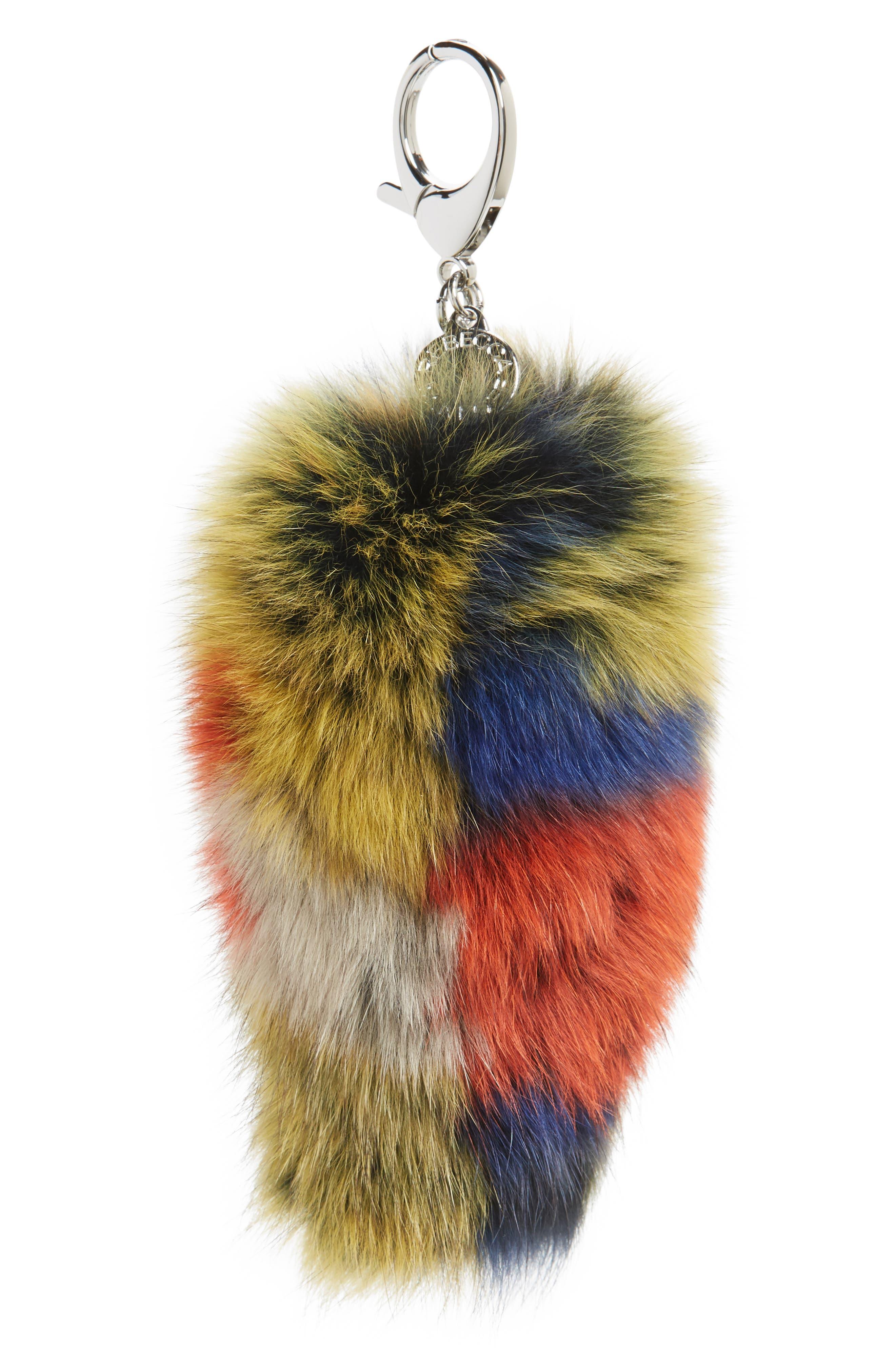 Genuine Fox Fur Bag Charm,                         Main,                         color, Orange Multi