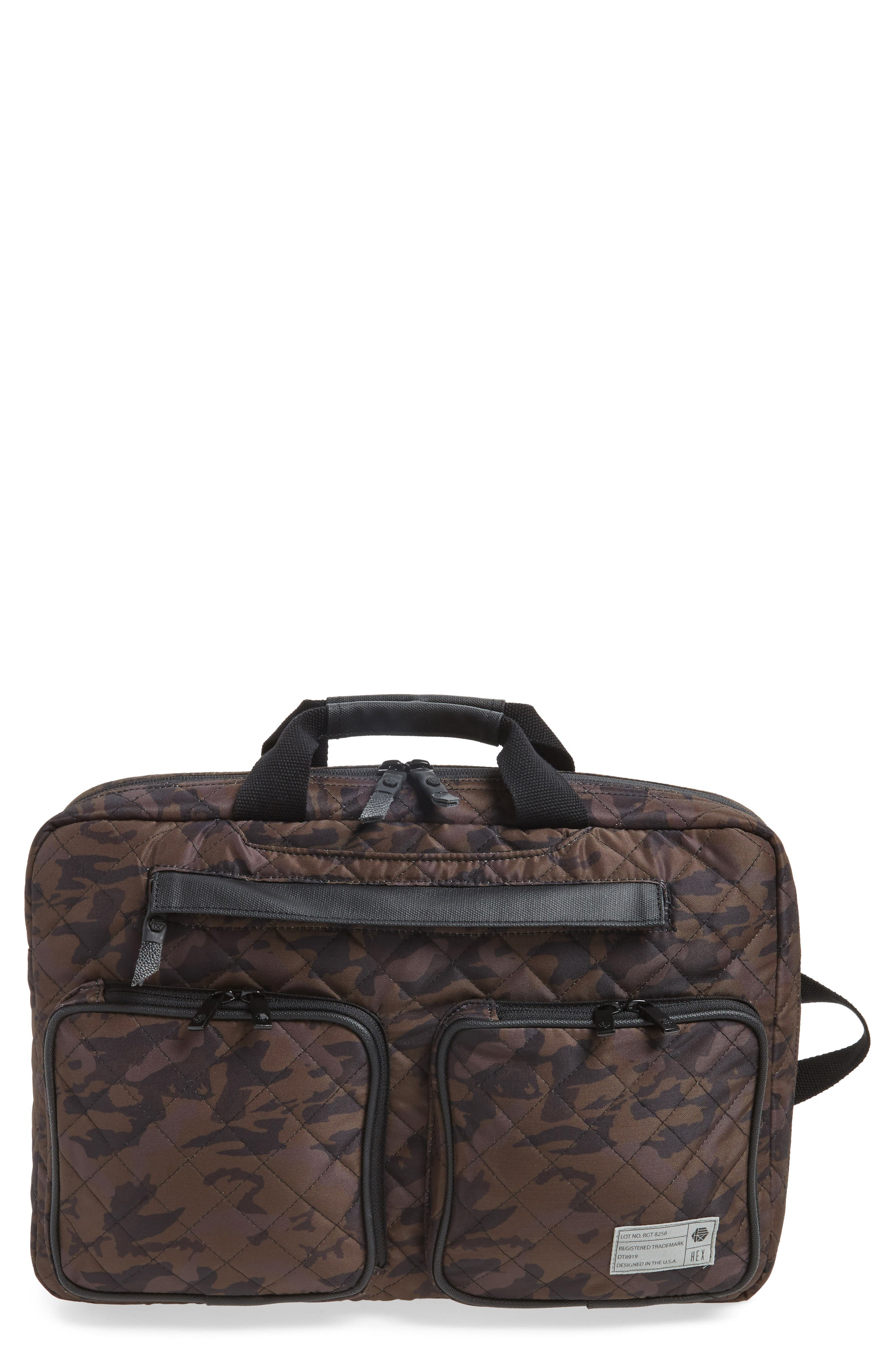 Radar Convertible Water Resistant Briefcase,                             Main thumbnail 1, color,                             Quilted Camo