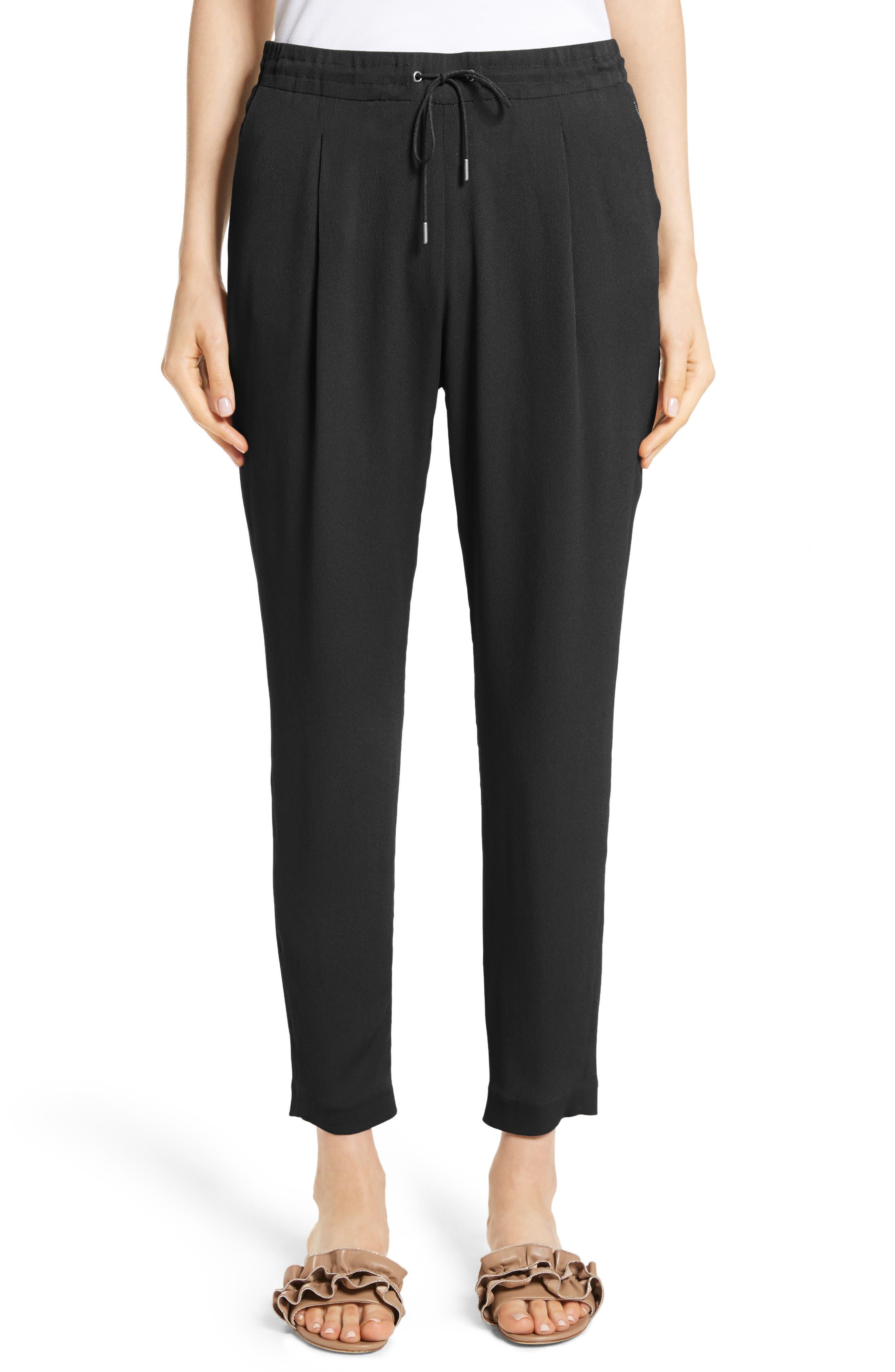Crop Drawstring Pants,                             Main thumbnail 1, color,                             Black