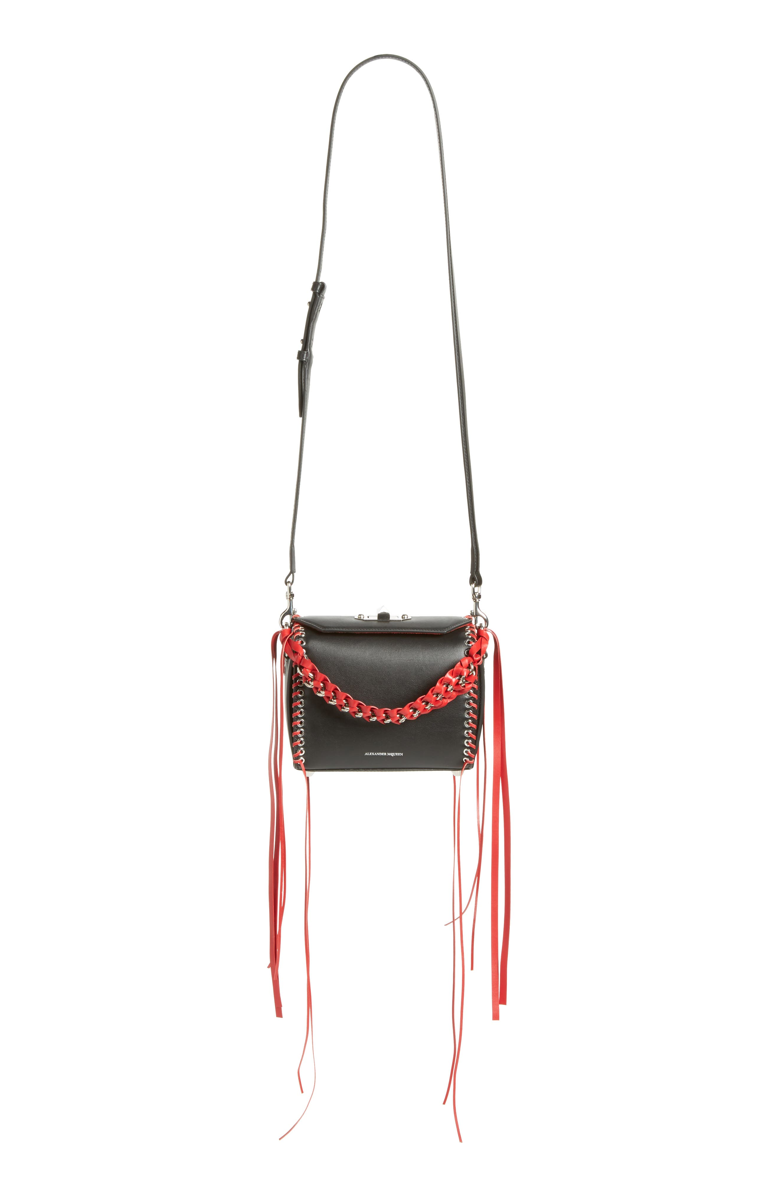 Box Bag 19 Calfskin Bag,                         Main,                         color, Black/ Red