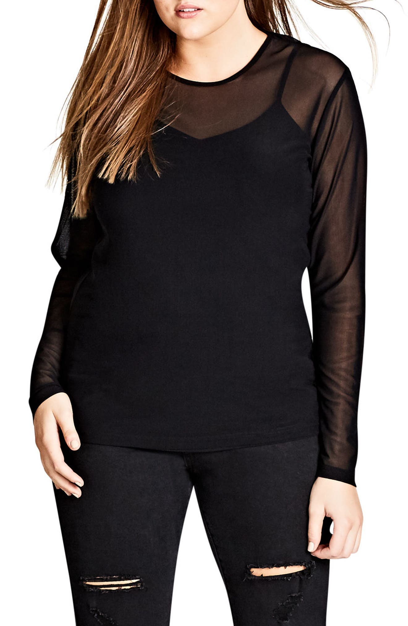Main Image - City Chic Sexy Mesh Top (Plus Size)