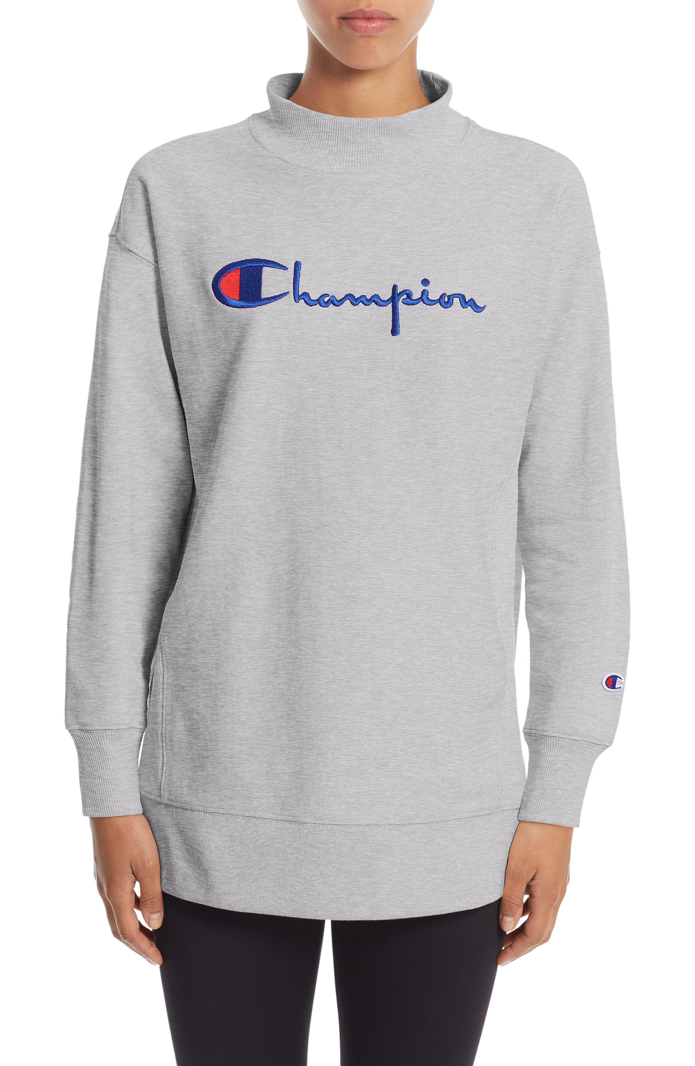 Reverse Weave<sup>®</sup> High Neck Sweatshirt,                             Main thumbnail 1, color,                             Oxford Grey