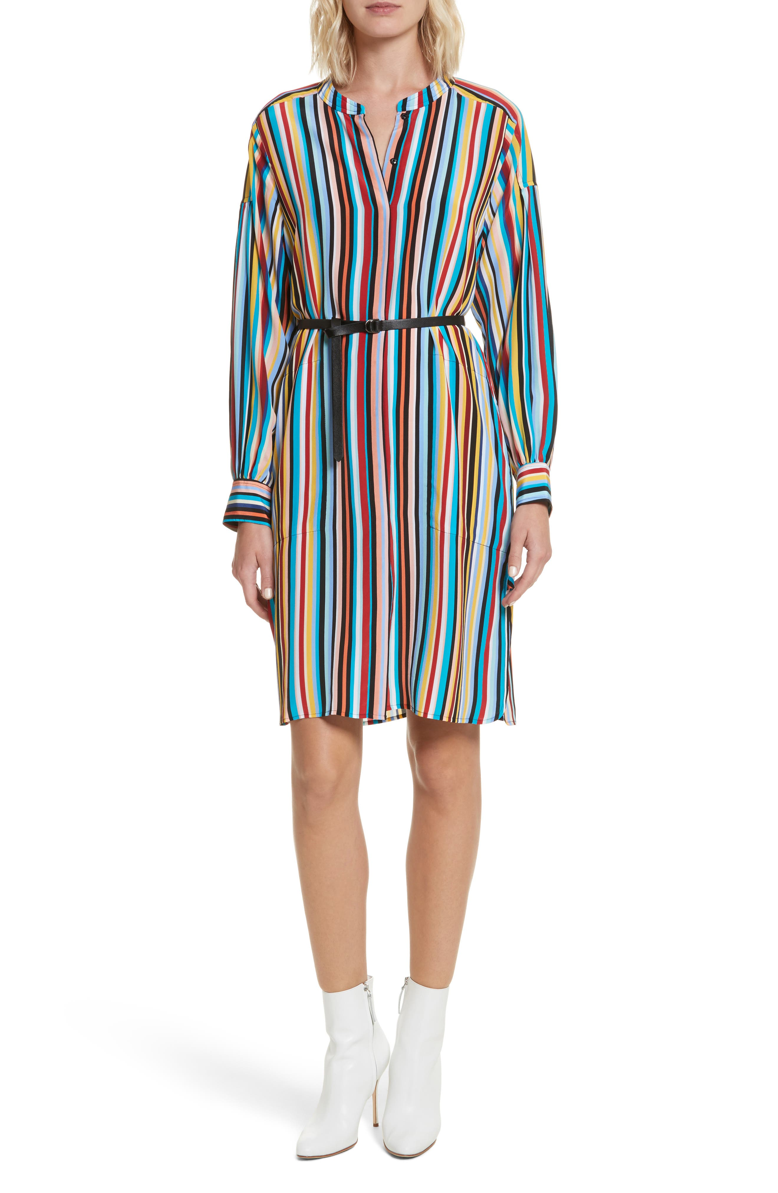 Stripe Silk Shirtdress,                             Main thumbnail 1, color,                             Skinny Stripes