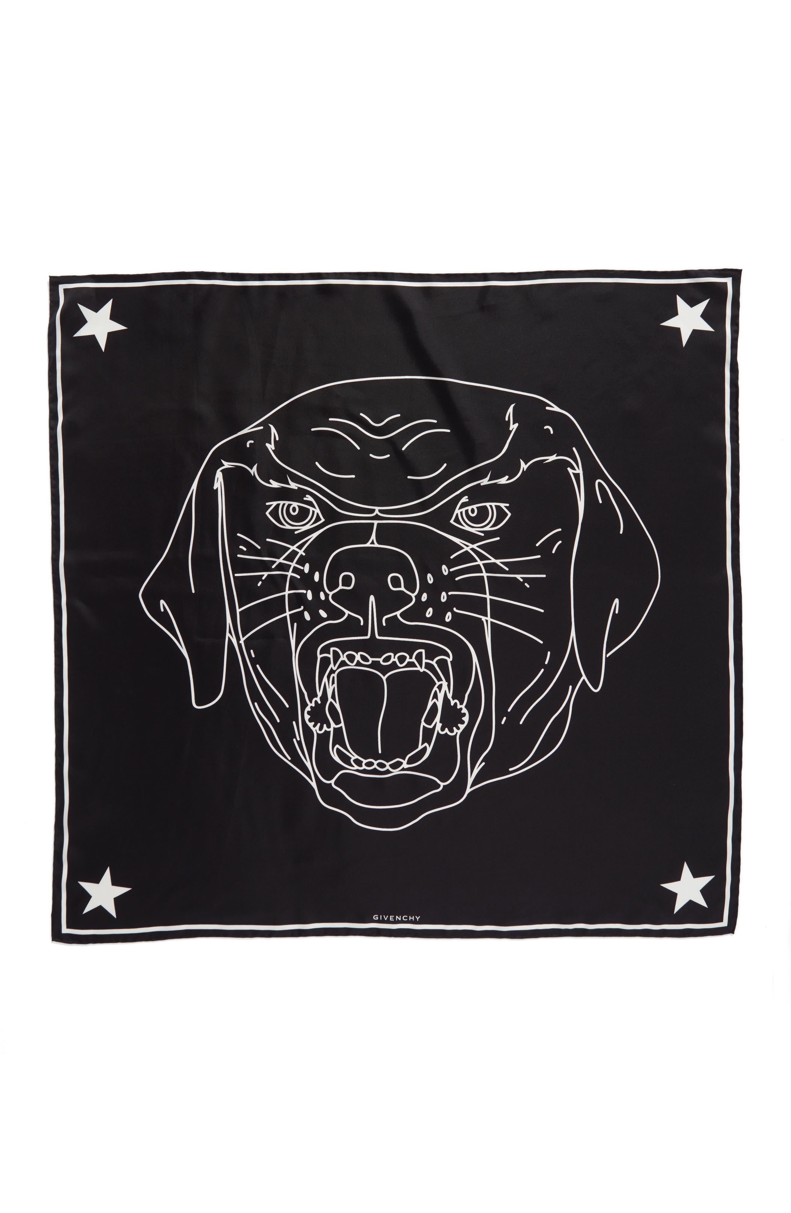 Rottweiler Silk Twill Scarf,                         Main,                         color, Black/White