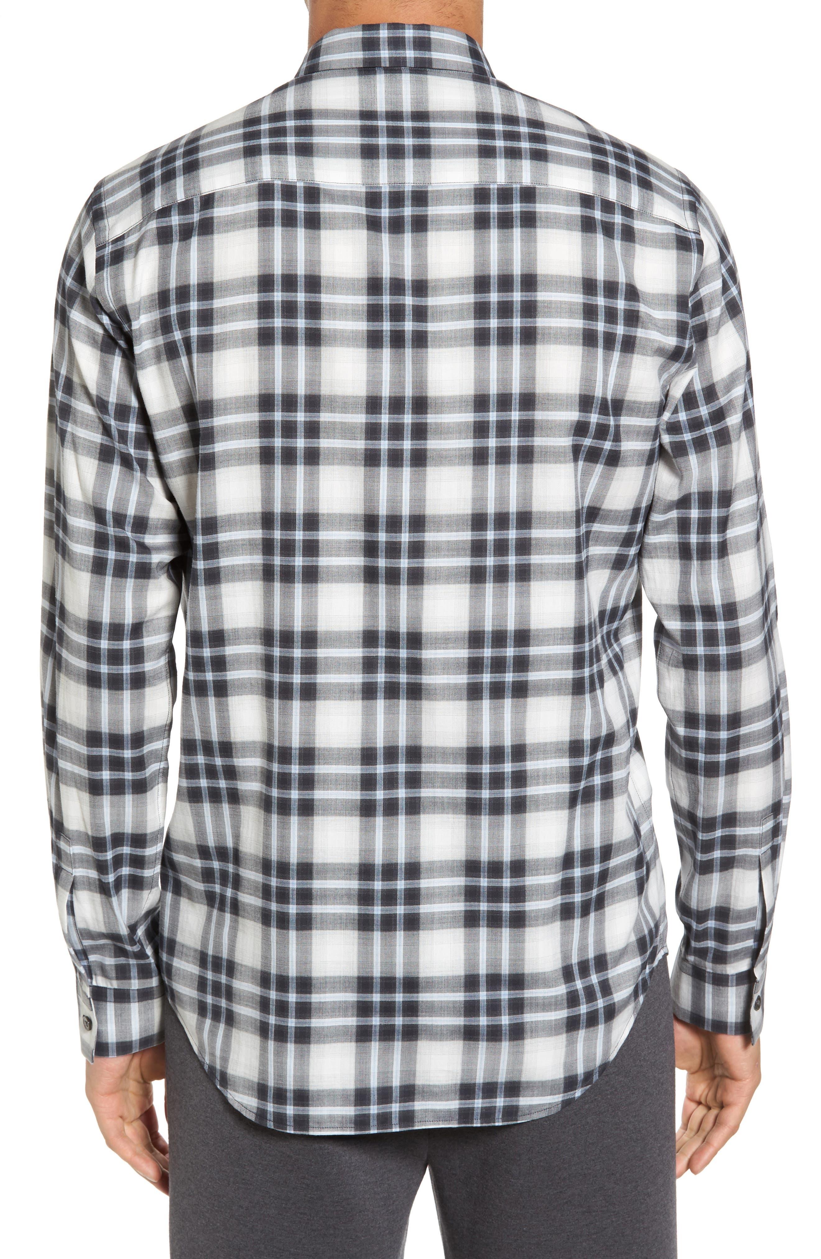 Trim Fit Plaid Sport Shirt,                             Alternate thumbnail 2, color,                             Larkspur Blue