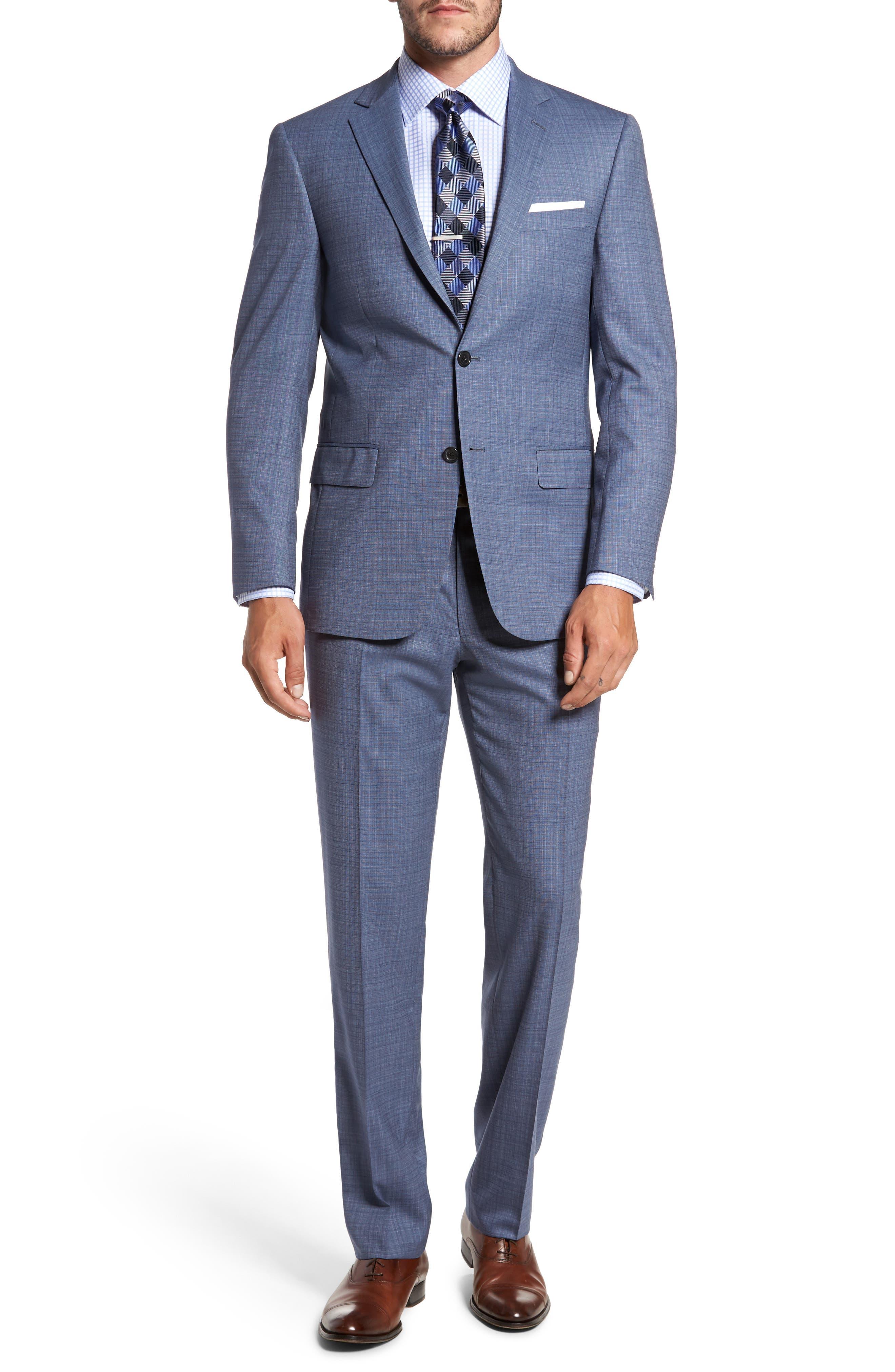 Classic Fit Check Wool Suit,                         Main,                         color, Light Blue