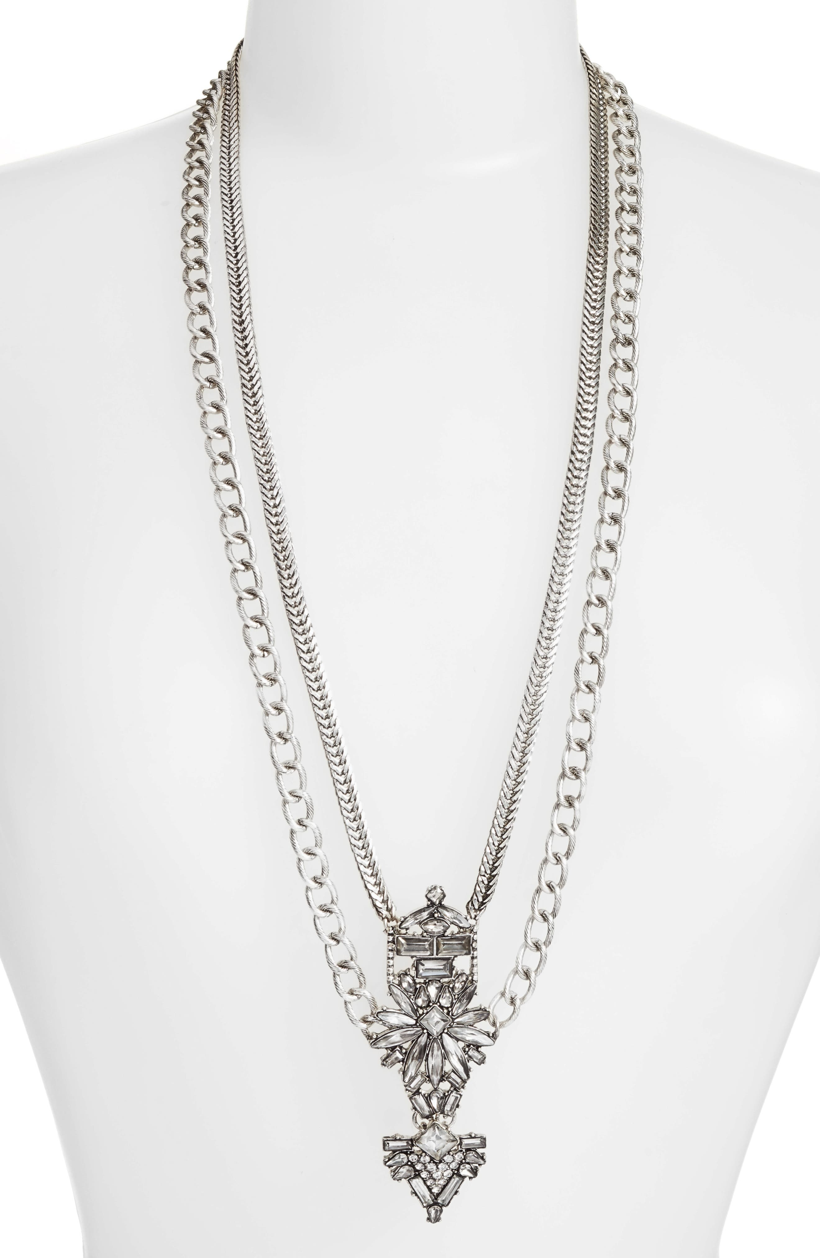 Crystal Pendant Necklace,                         Main,                         color, Antiqued Silver