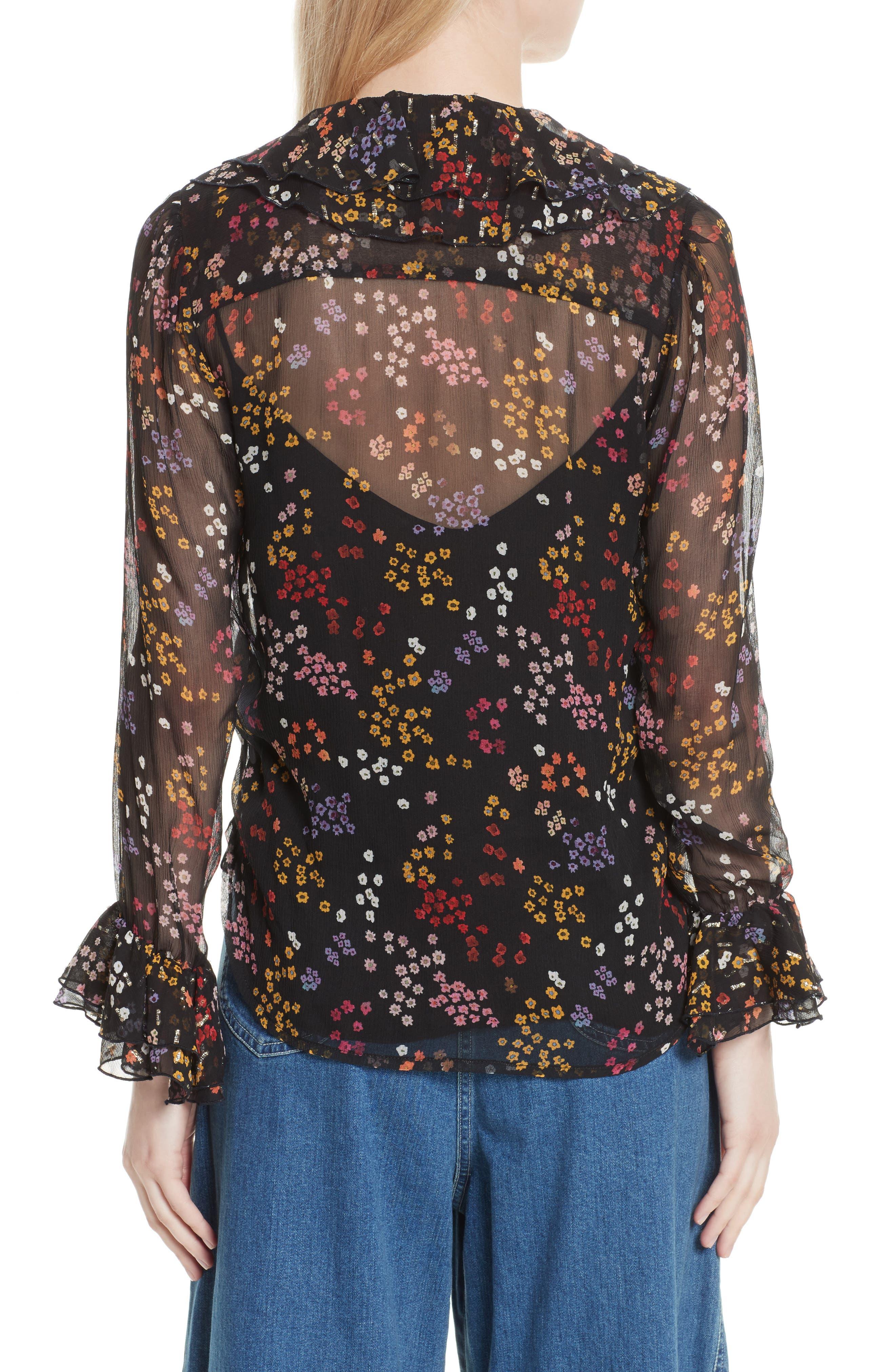 Floral Silk Blouse,                             Alternate thumbnail 2, color,                             Multicolor Black 1