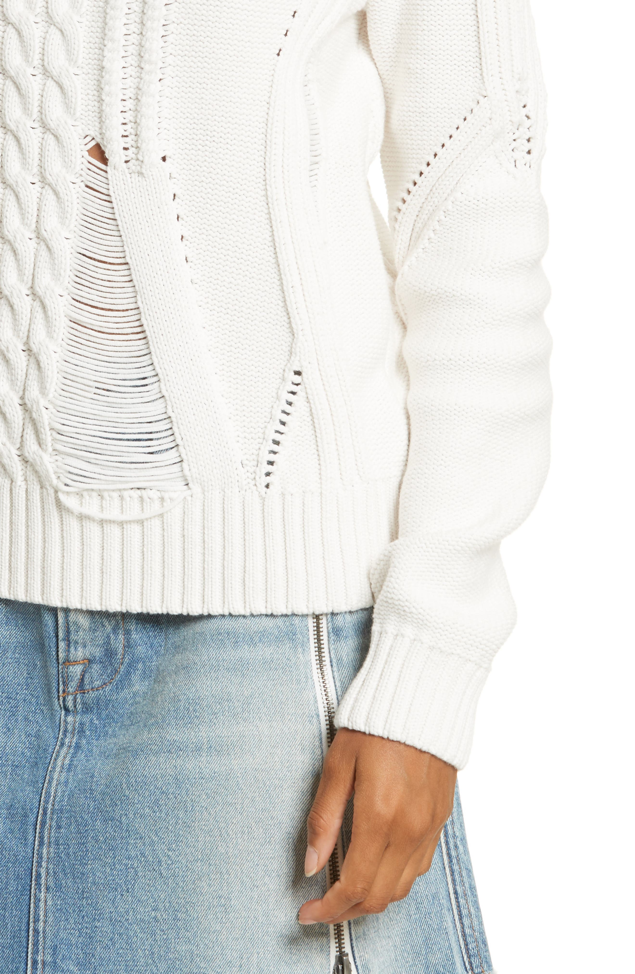Cable Knit Sweater,                             Alternate thumbnail 4, color,                             Off White