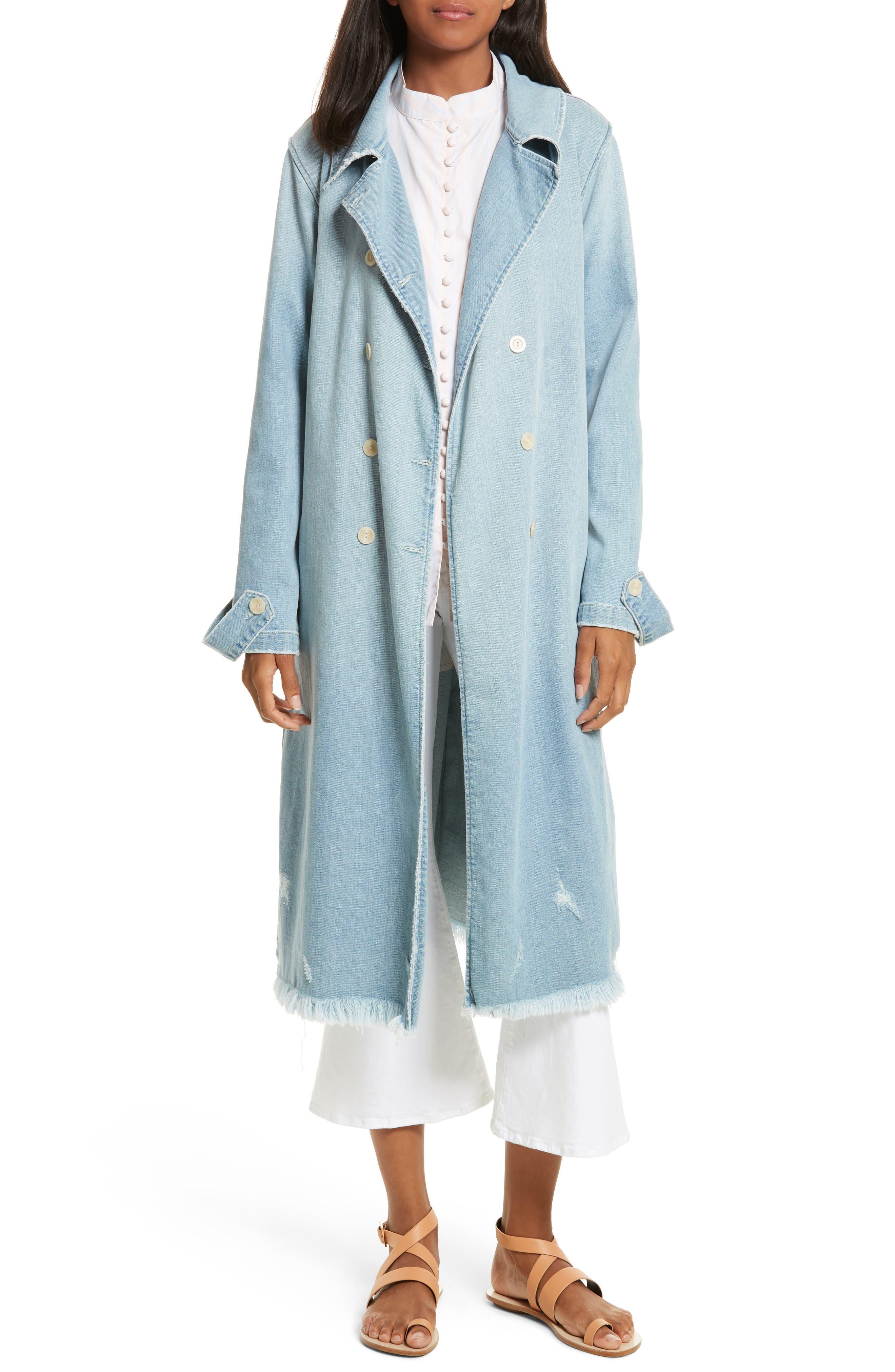 Le Denim Trench Coat,                         Main,                         color, Daphne