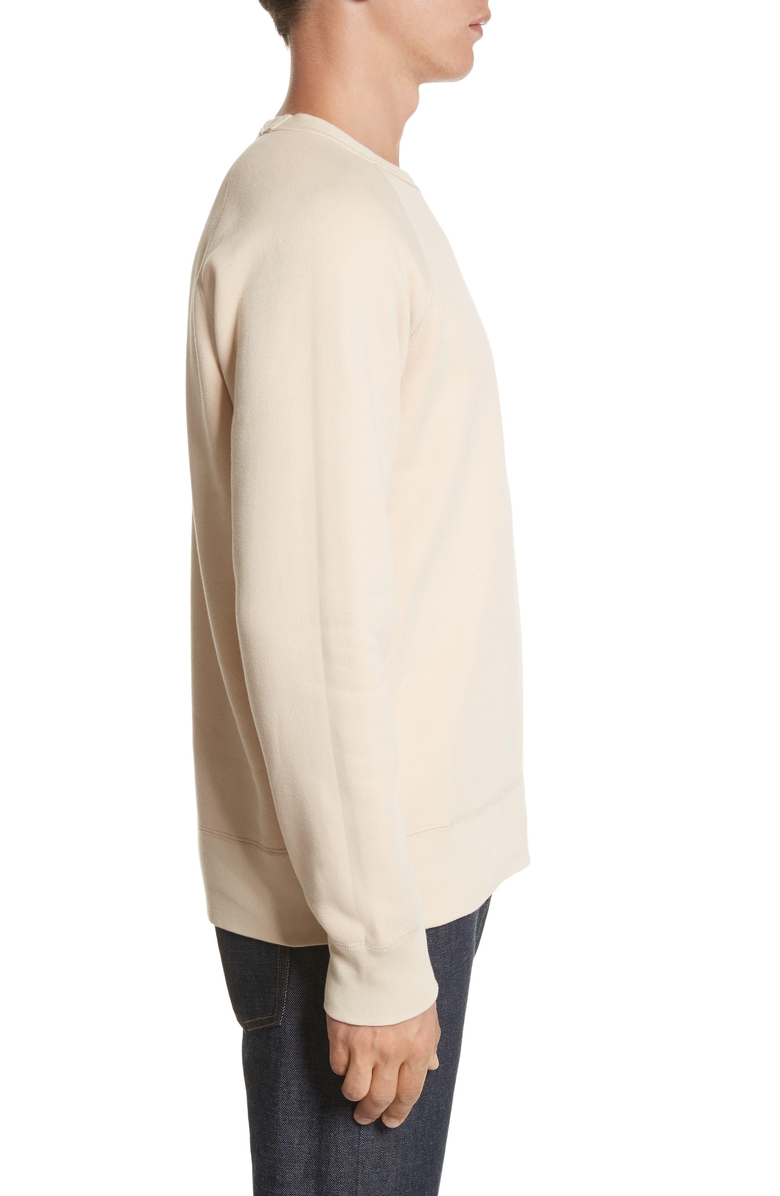 Reversible Raglan Crewneck Sweatshirt,                             Alternate thumbnail 3, color,                             Beige