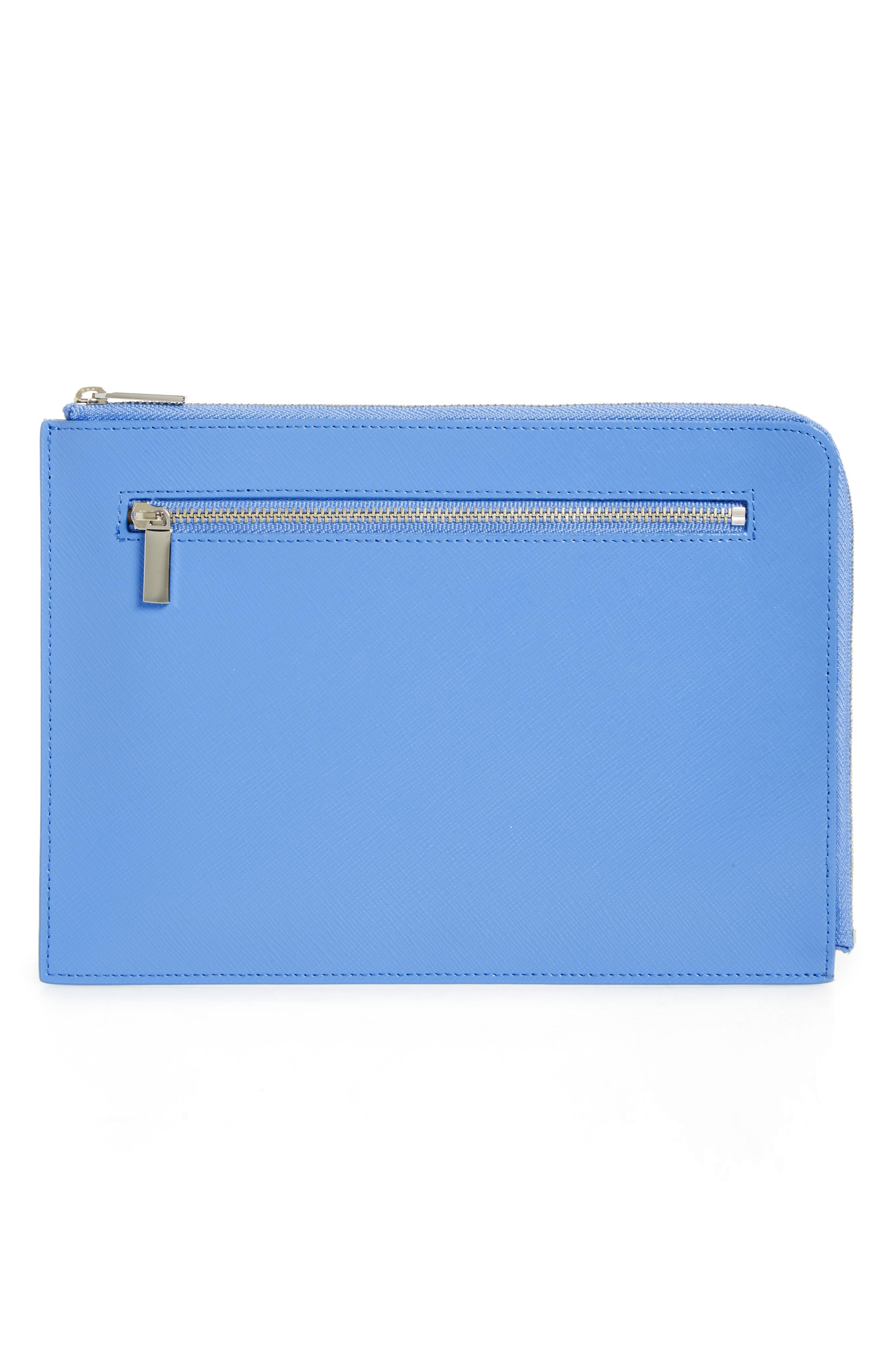 Leather Zip Pouch,                             Main thumbnail 1, color,                             Blue Regatta