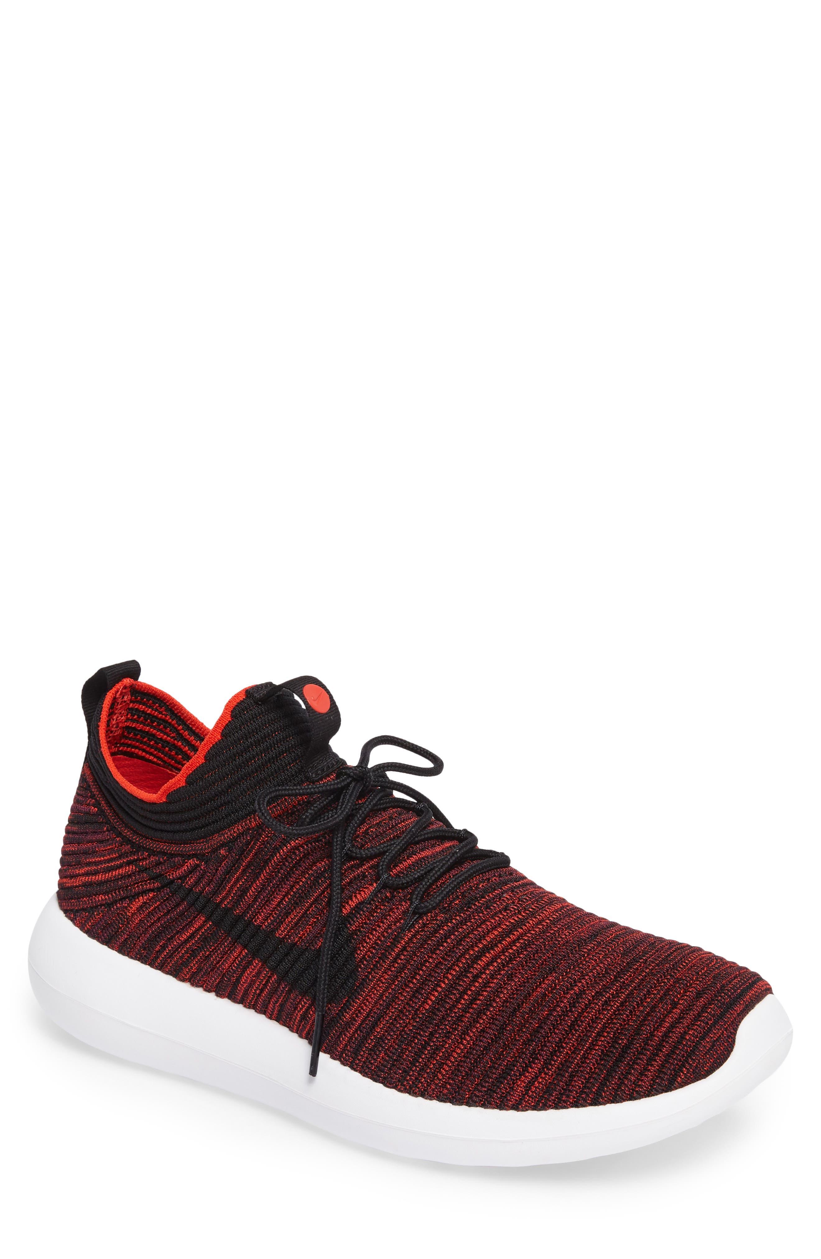 Roshe Two Flyknit V2 Sneaker,                         Main,                         color, Chile Red/ Black