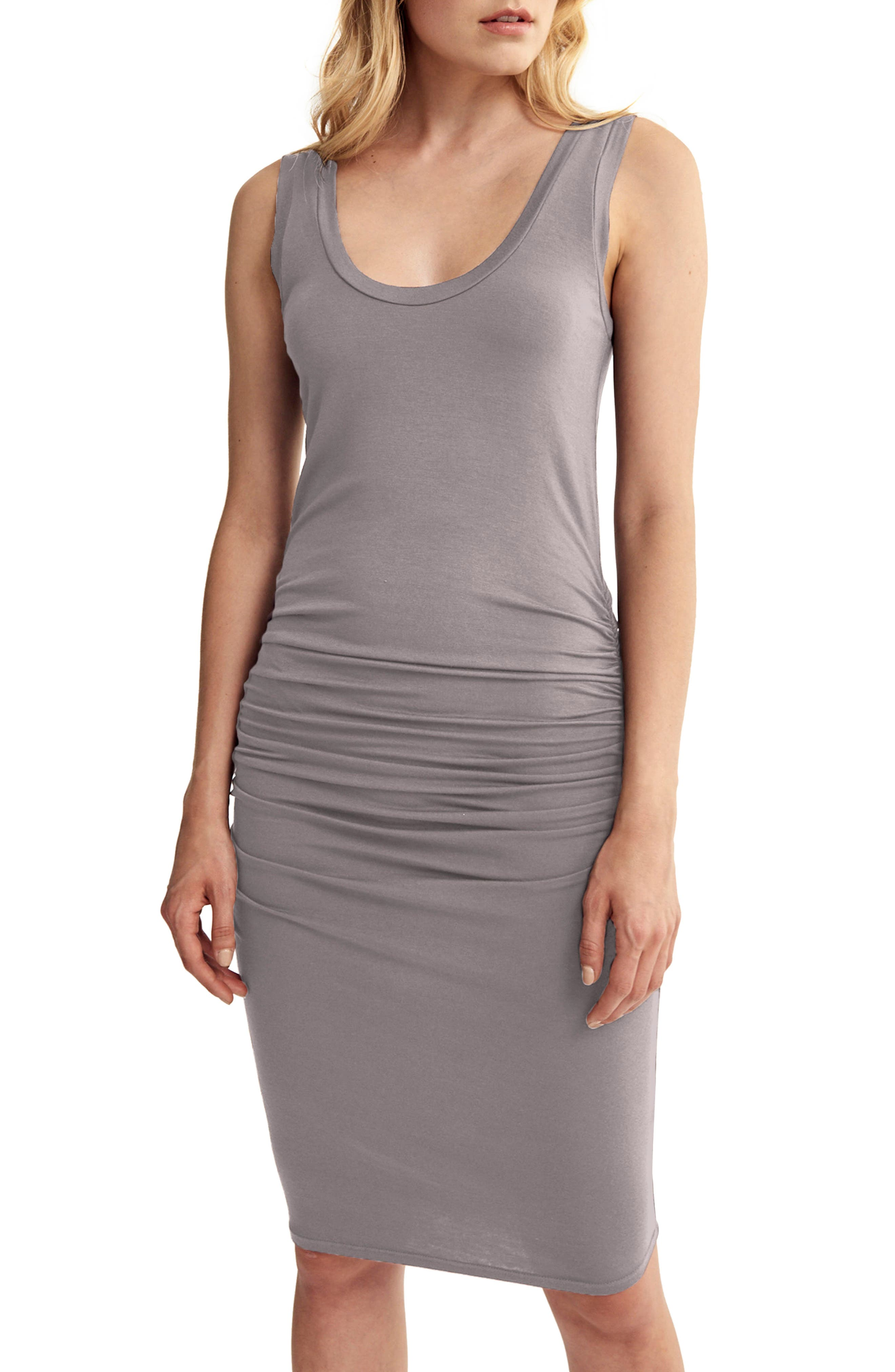 'Frankie' Ruched Tank Dress,                             Main thumbnail 1, color,                             Peppercorn