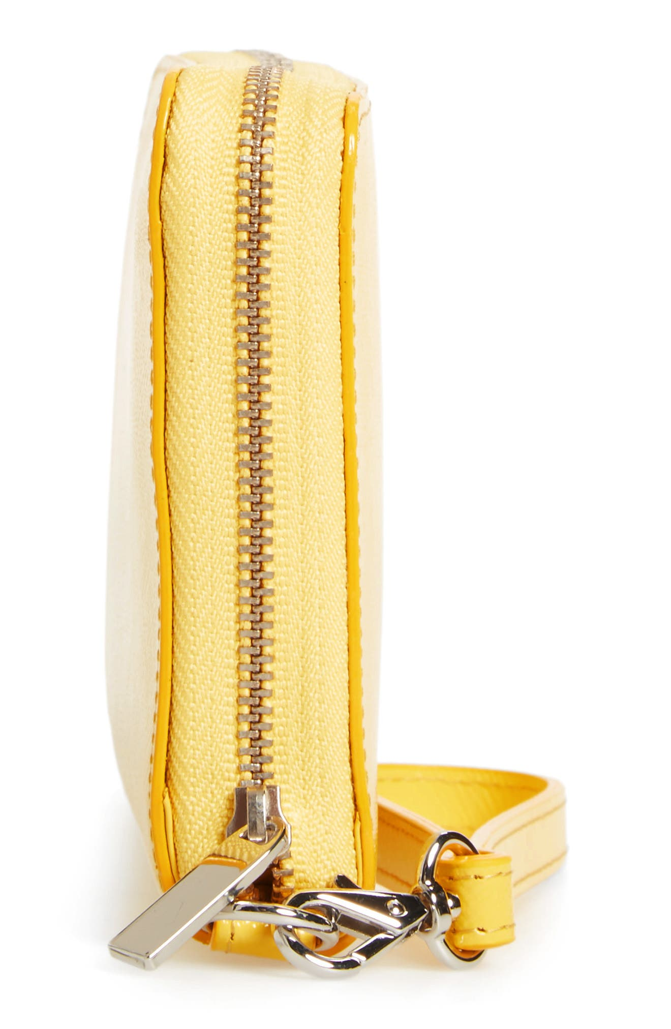 Leather Zip Around Wallet,                             Alternate thumbnail 4, color,                             Yellow Zest