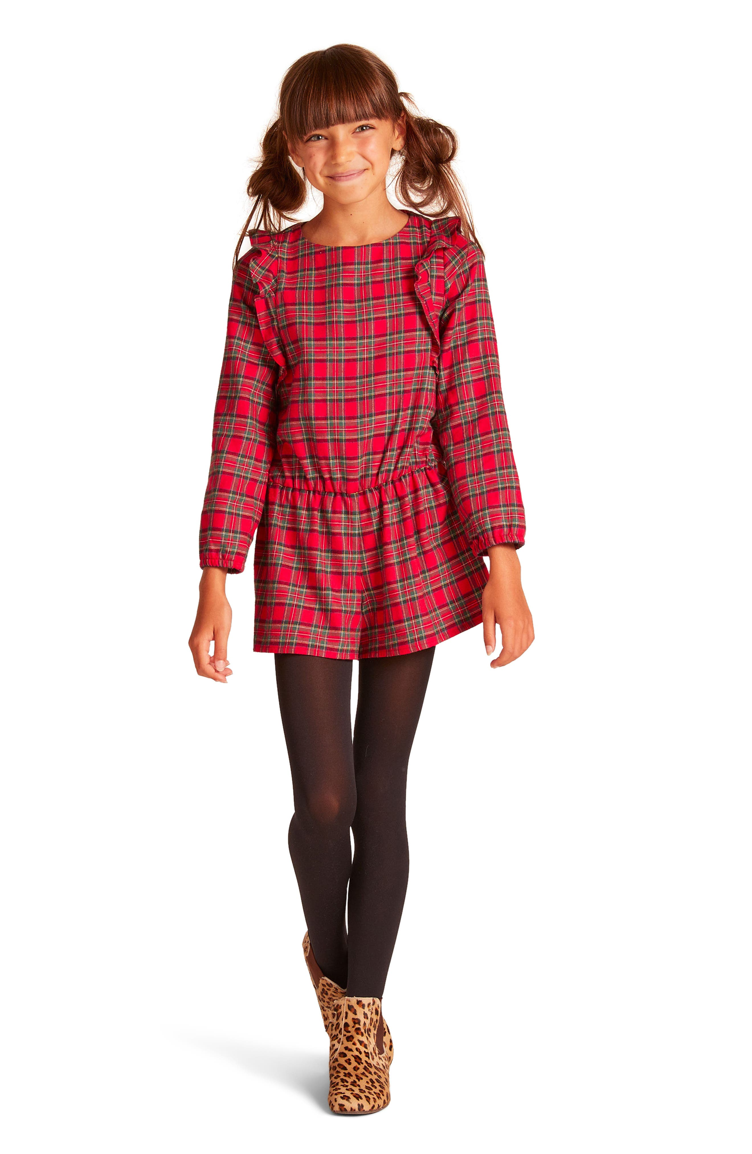 Alternate Image 2  - Wild & Gorgeous Pam Plaid Romper (Little Girls & Big Girls)