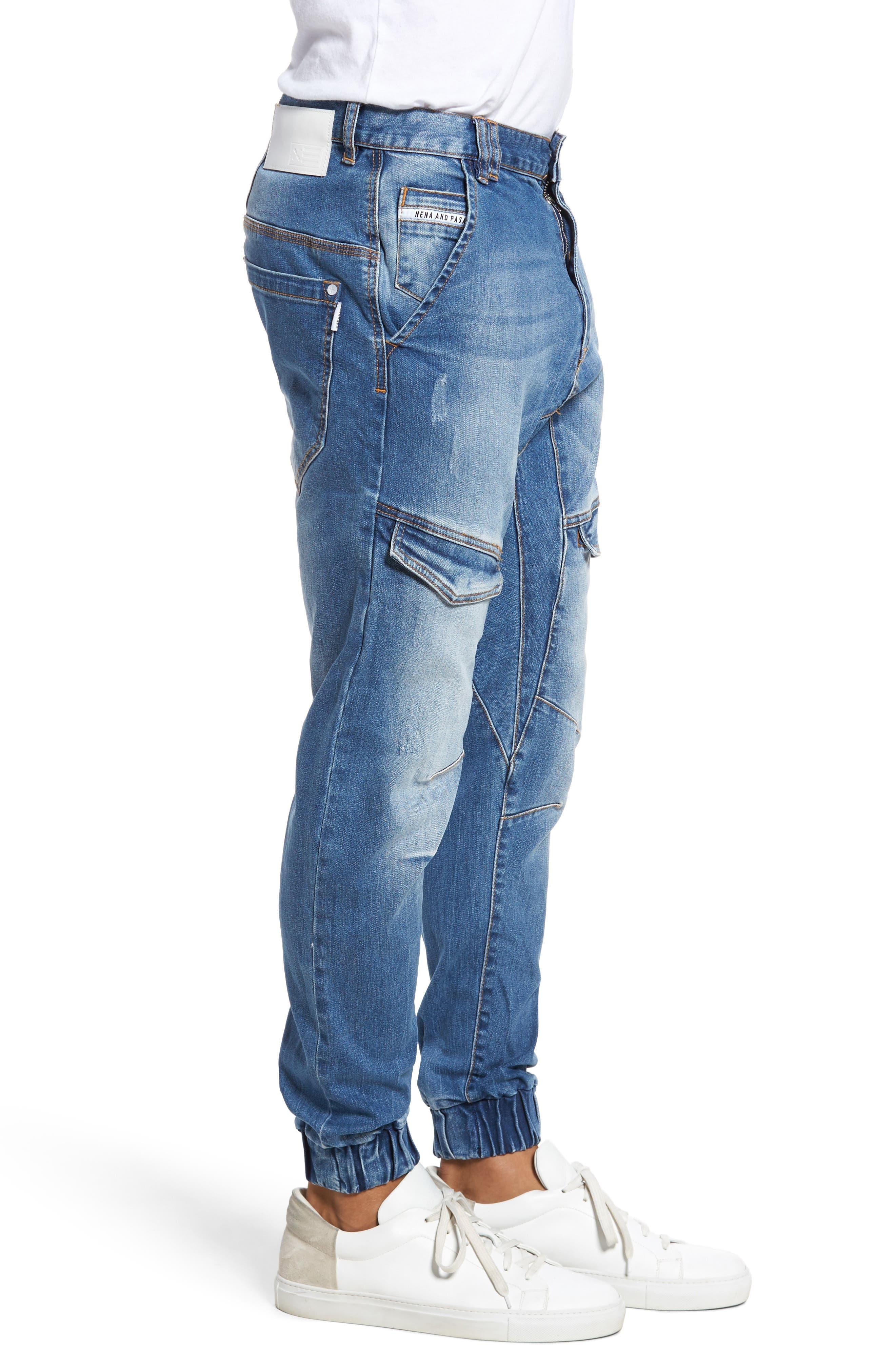 Flight Skinny Denim Jogger Pants,                             Alternate thumbnail 3, color,                             Lincoln Blue