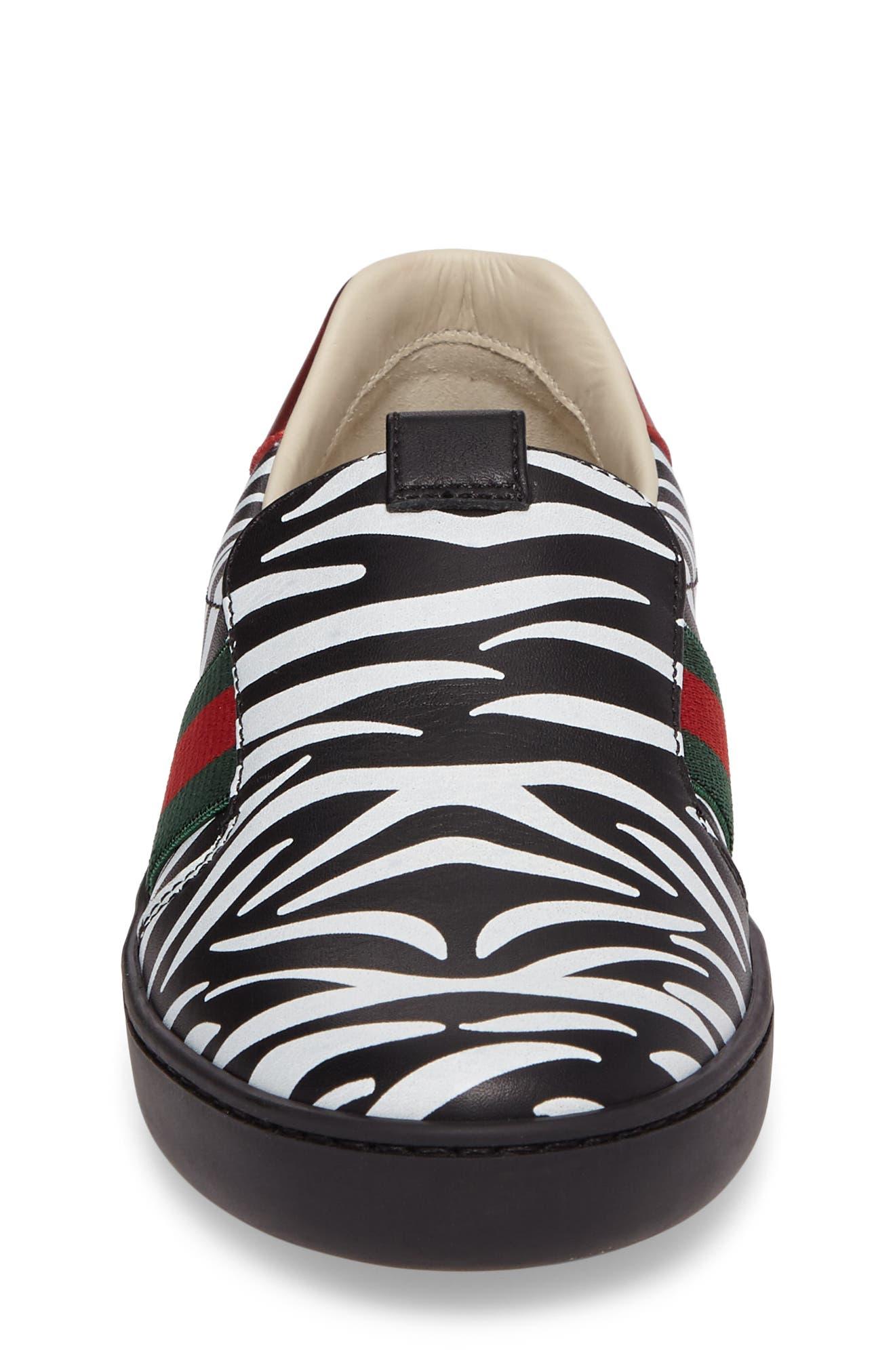 New Ace Print Slip-On Sneaker,                             Alternate thumbnail 4, color,                             Black/ White