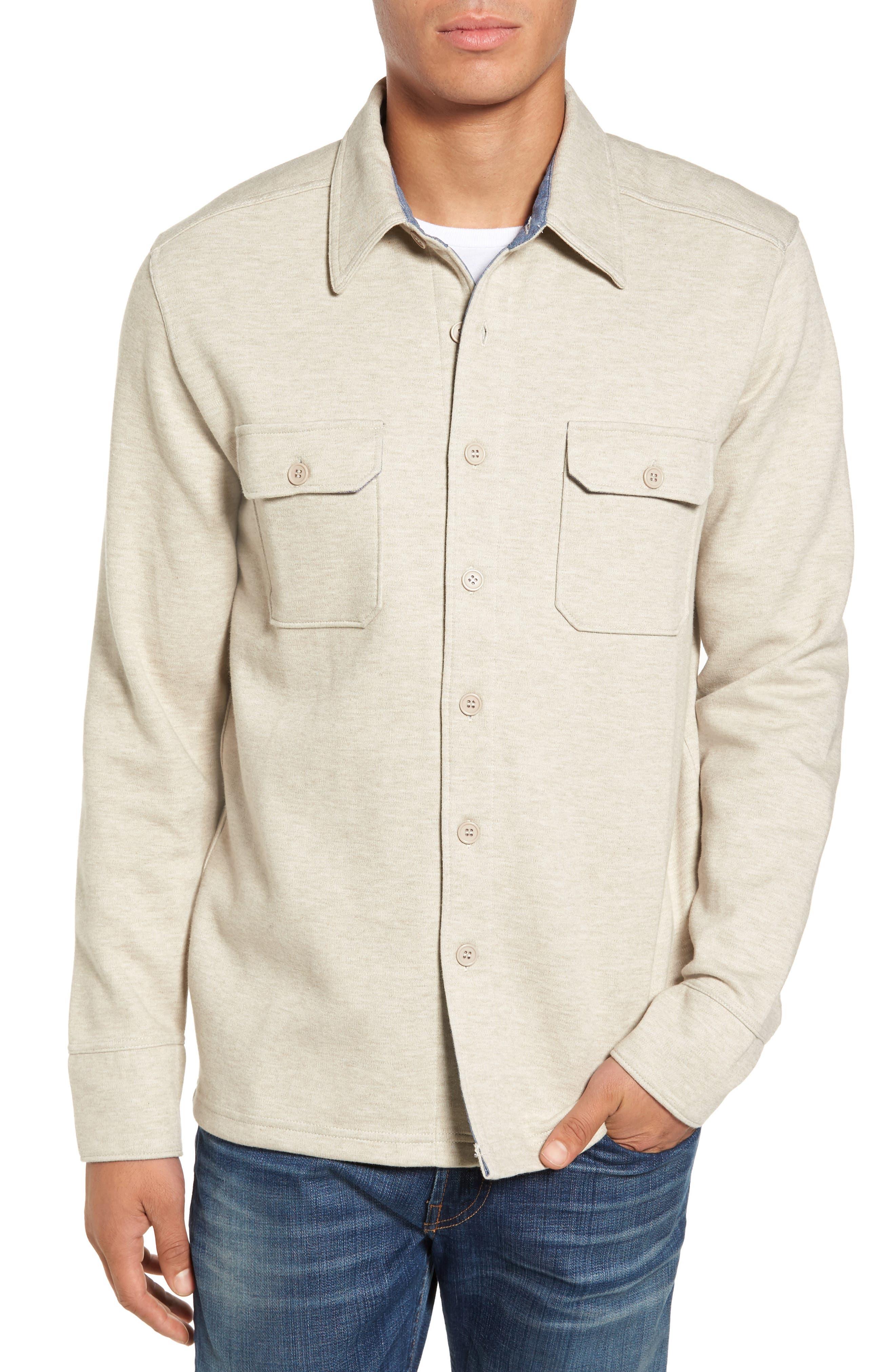 'Longitude' Flap Pocket Fleece Shirt,                             Main thumbnail 1, color,                             Bamboo Ivory