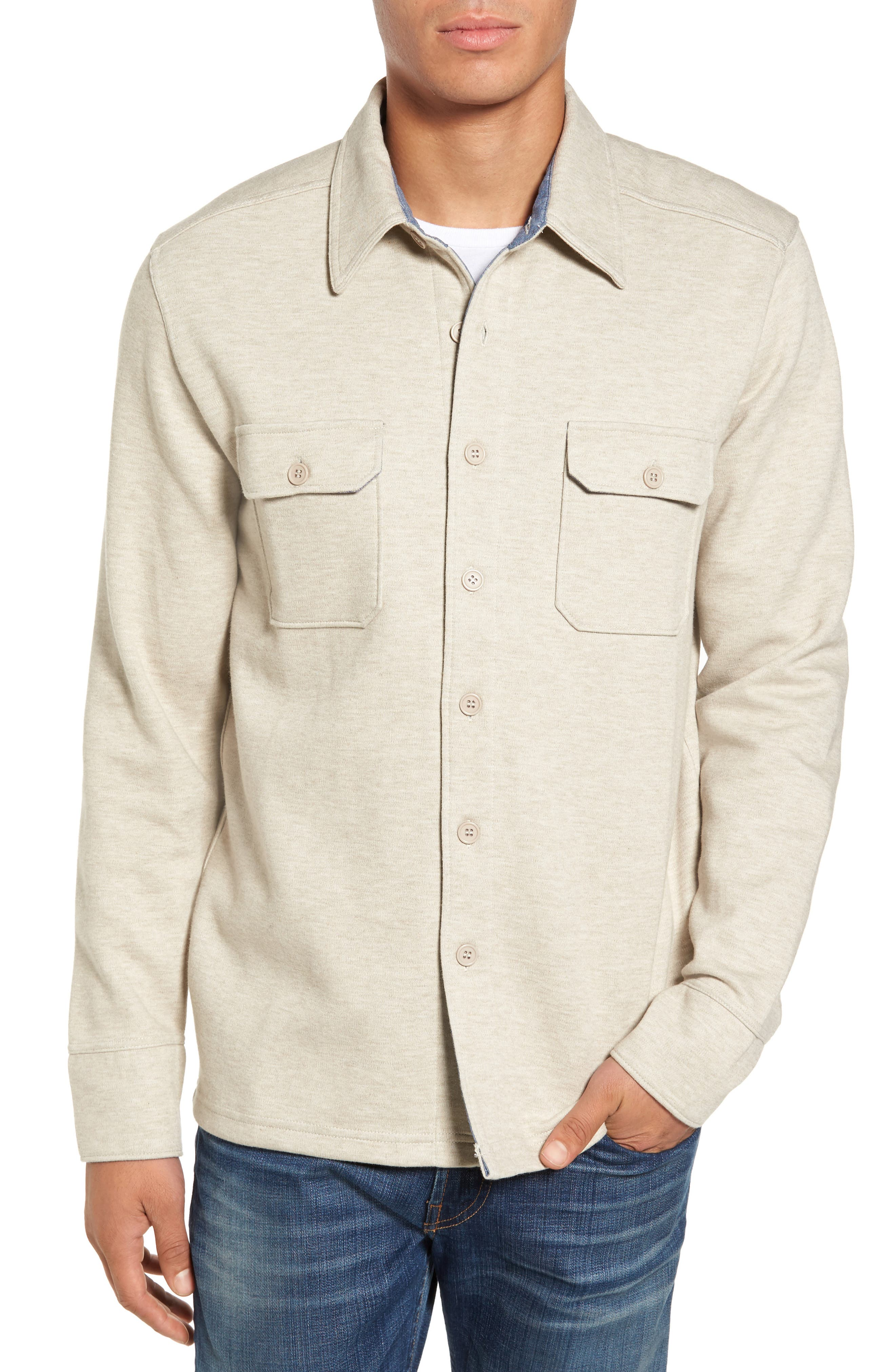 'Longitude' Flap Pocket Fleece Shirt,                         Main,                         color, Bamboo Ivory
