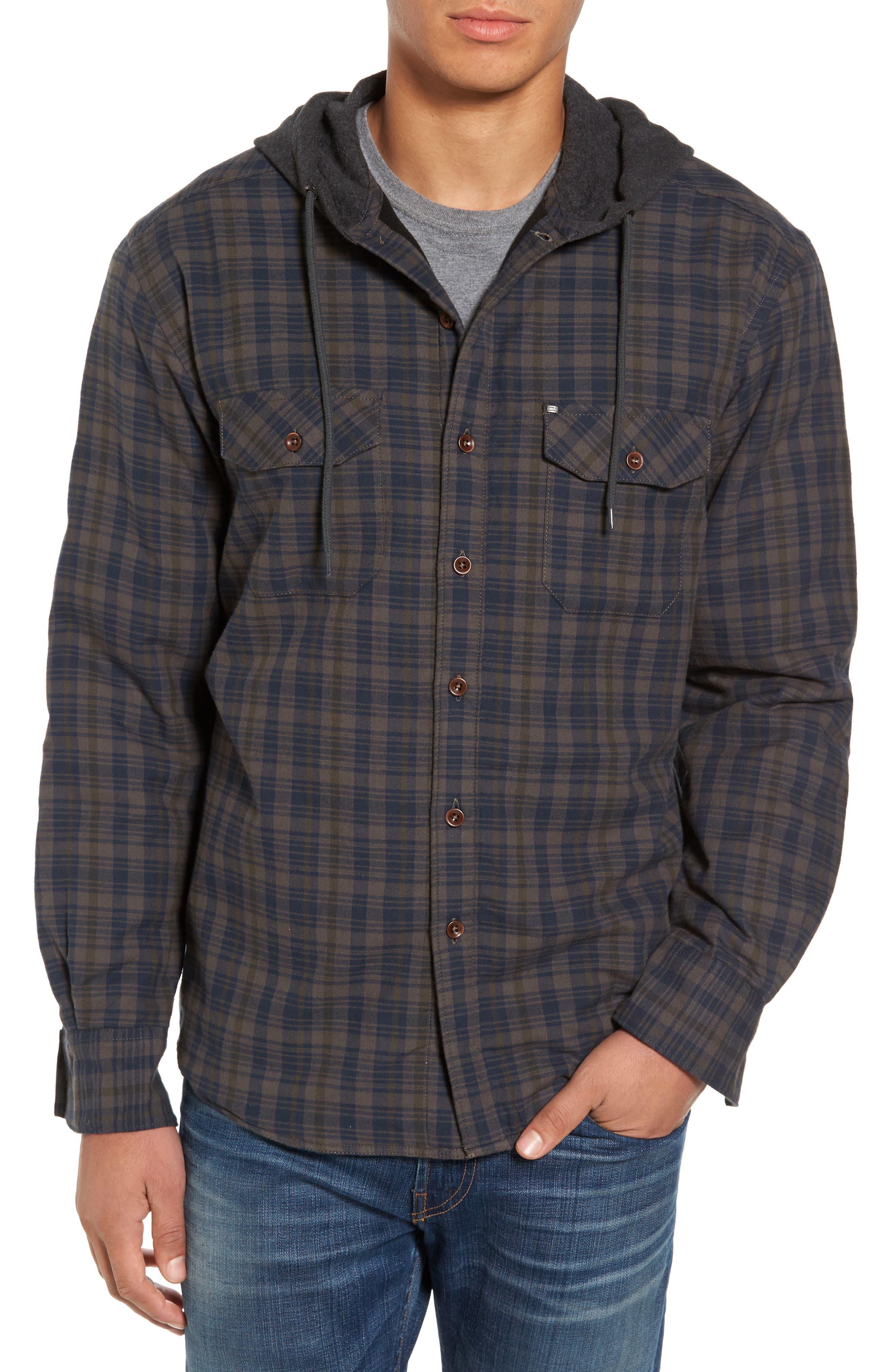 Hooded Plaid Flannel Shirt Jacket,                         Main,                         color, Oak