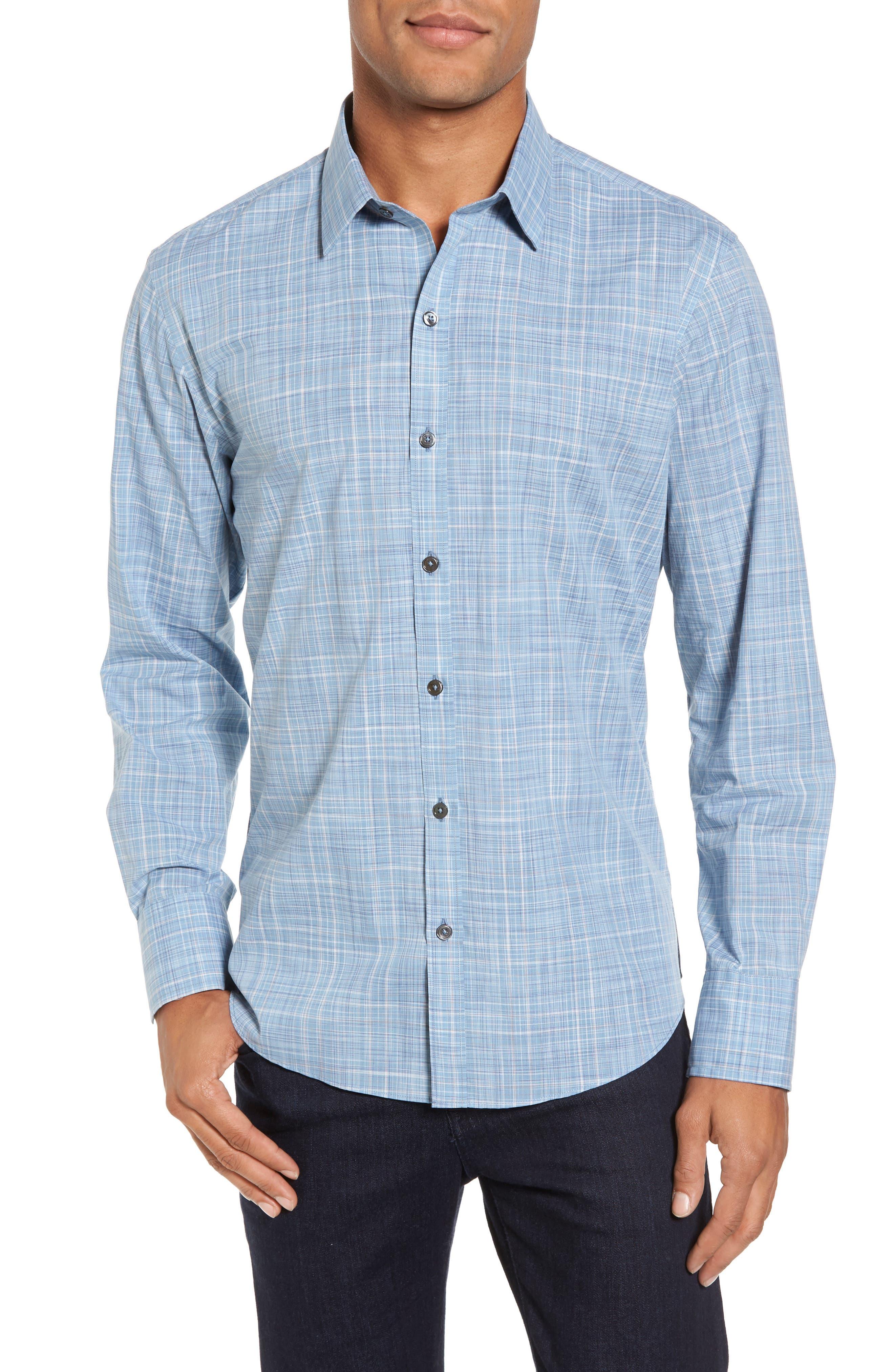 Clark Slim Fit Plaid Sport Shirt,                         Main,                         color, Light Blue