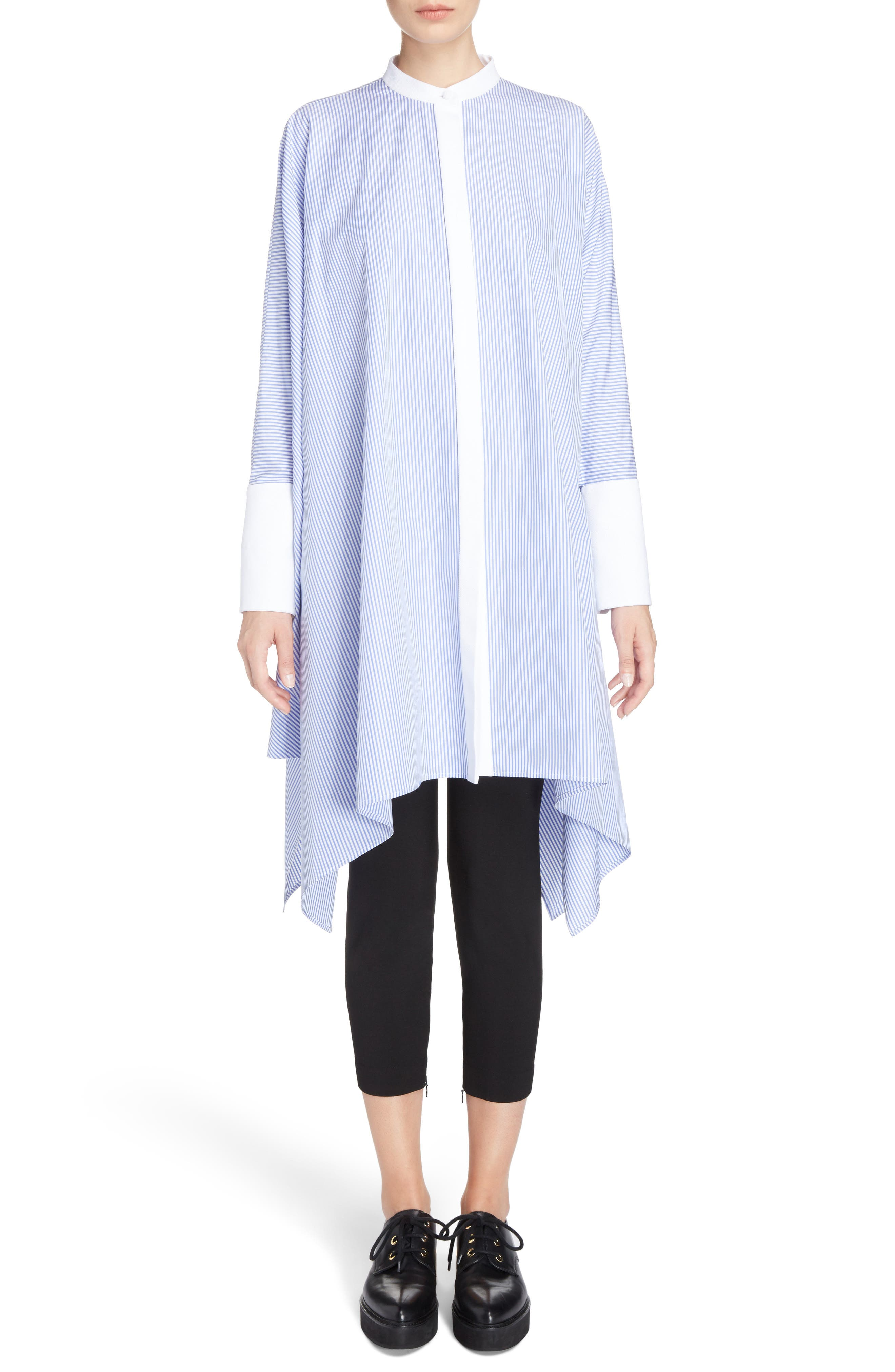Alexander McQueen Stripe Cotton Poplin Cape Top