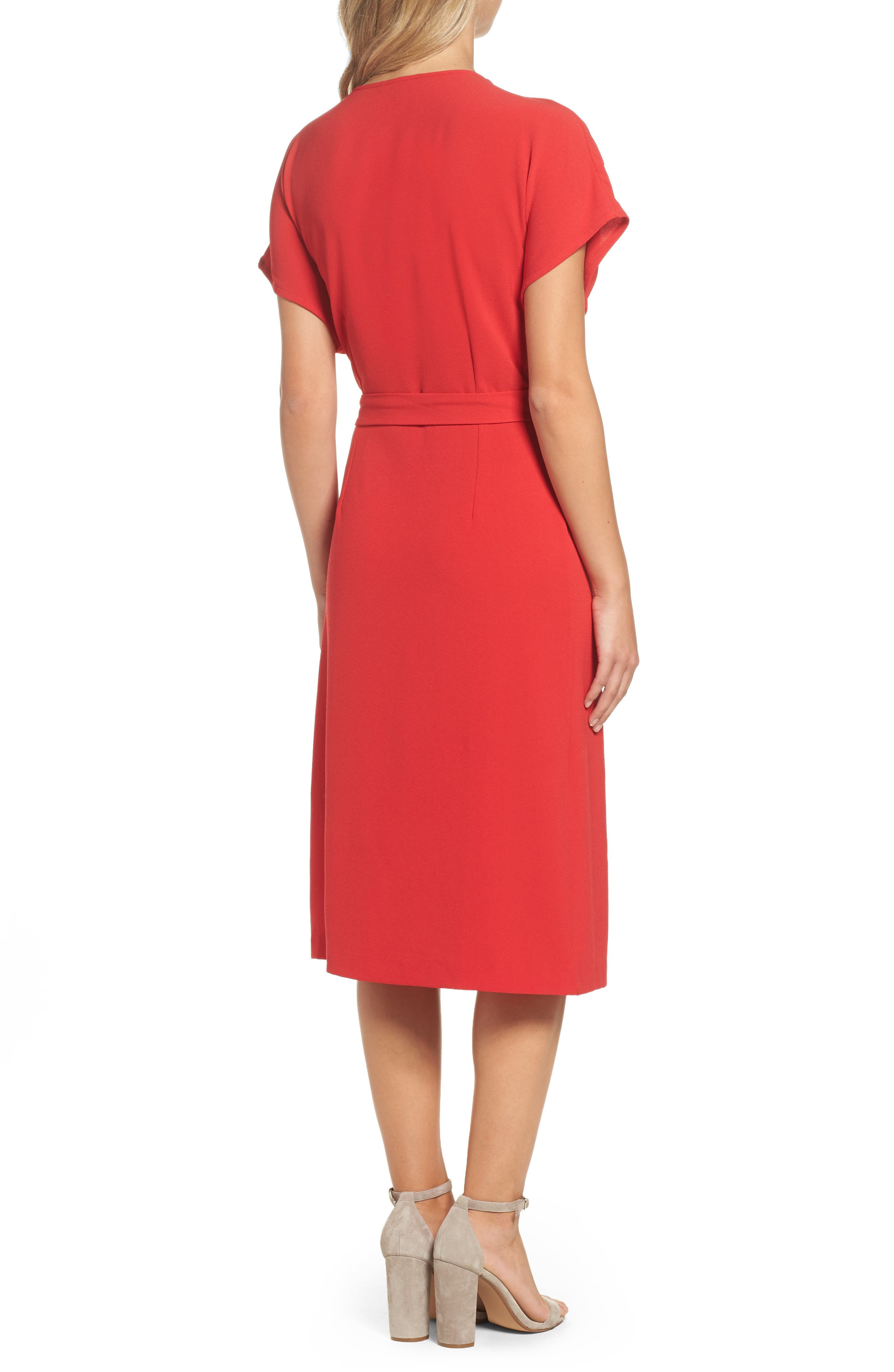 Rita Wrap Dress,                             Alternate thumbnail 2, color,                             Red