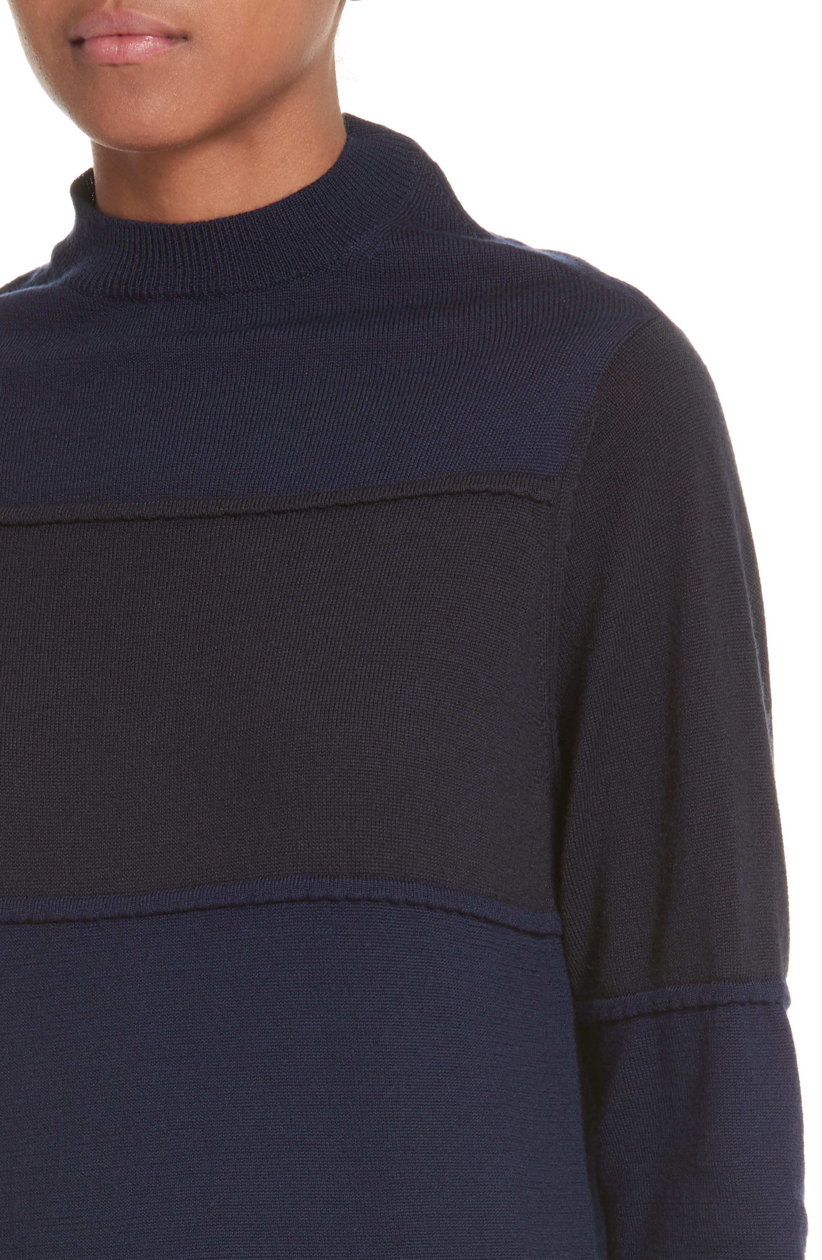 Pintuck Stripe Sweater,                             Alternate thumbnail 4, color,                             Navy