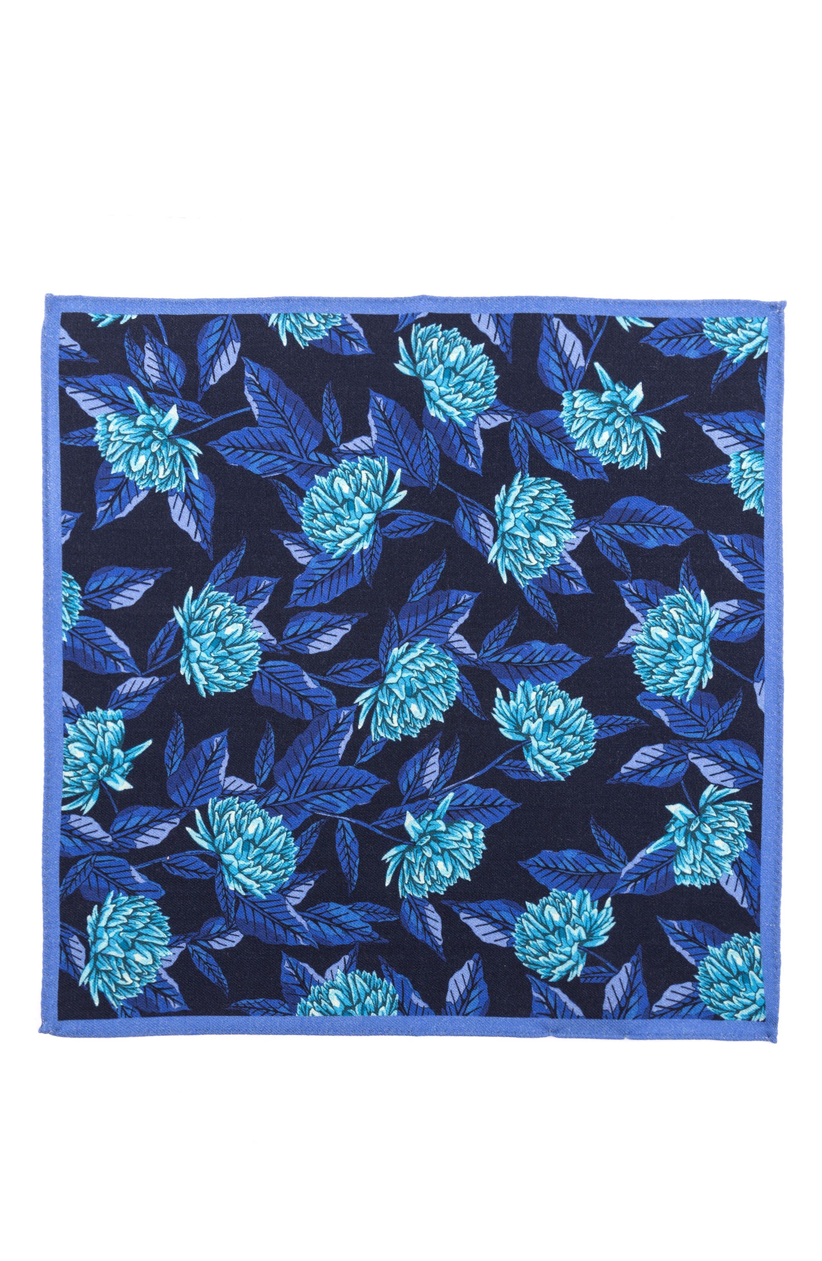 Floral Wool Pocket Square,                             Alternate thumbnail 2, color,                             400 Blue