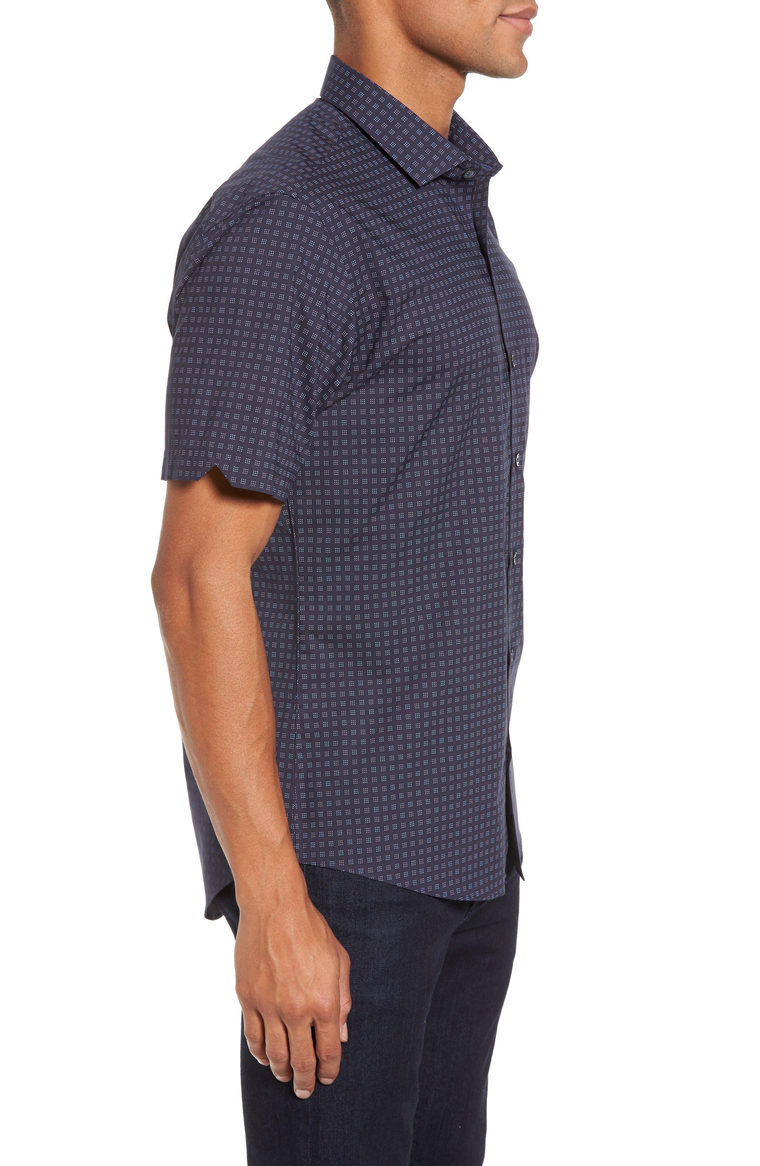 Tennant Slim Fit Dot Print Sport Shirt,                             Alternate thumbnail 3, color,                             Navy